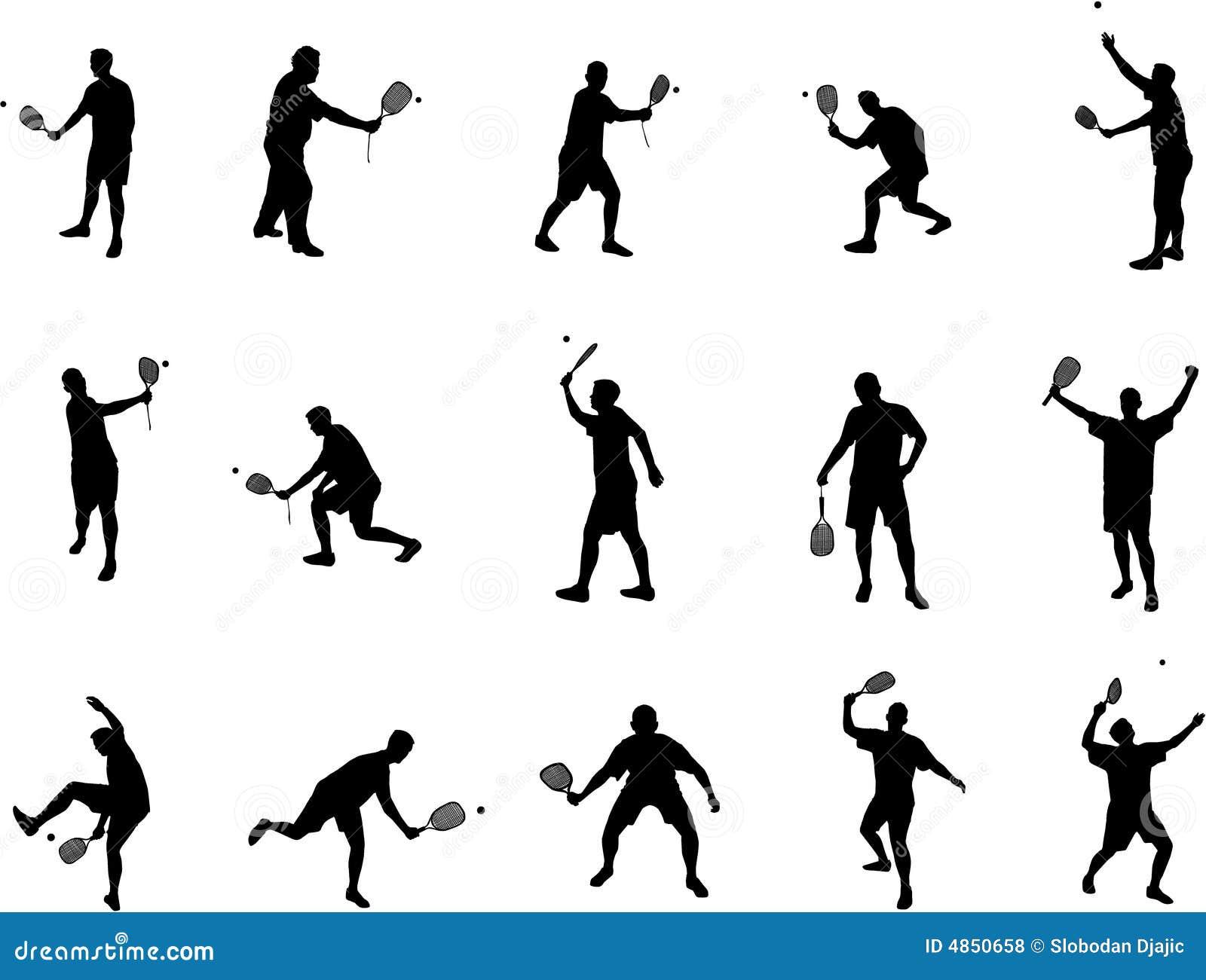 Squash Player Silhouettes Vector Illustration