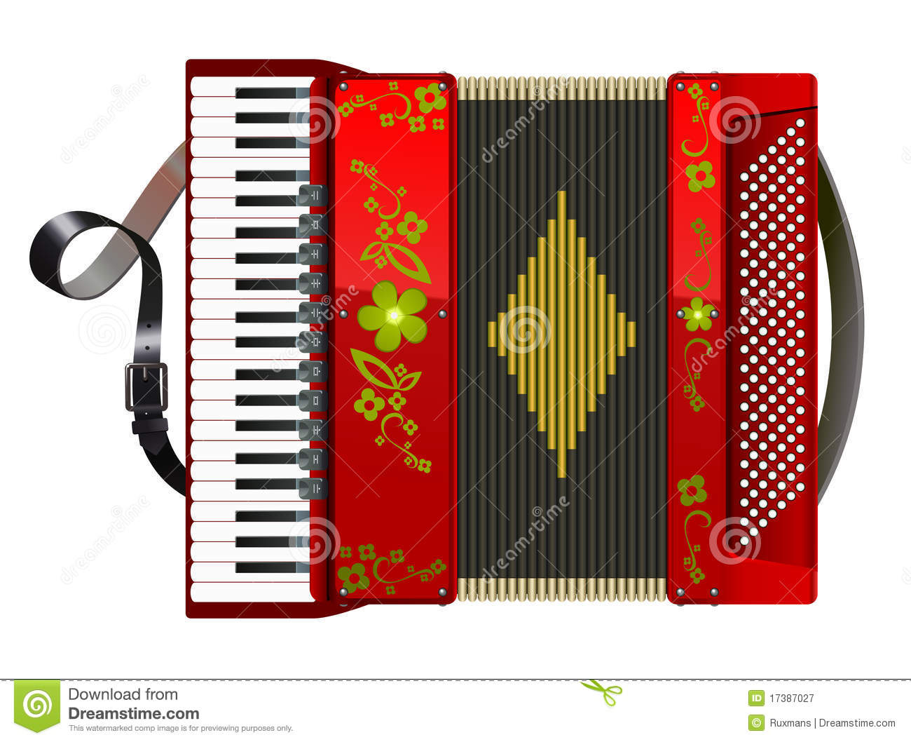 Squeezed red accordion