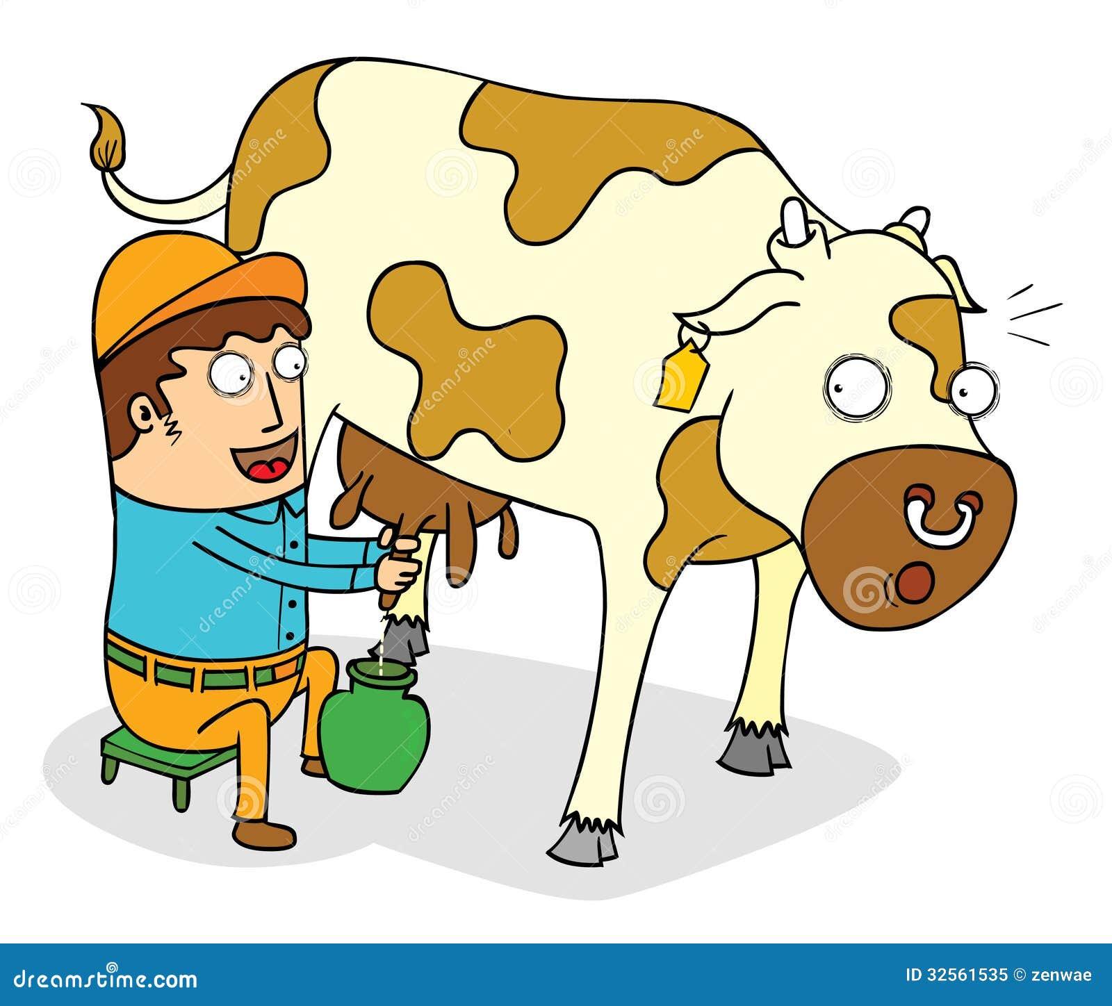 Cow Milk Animation Squeezing cow milk sto...