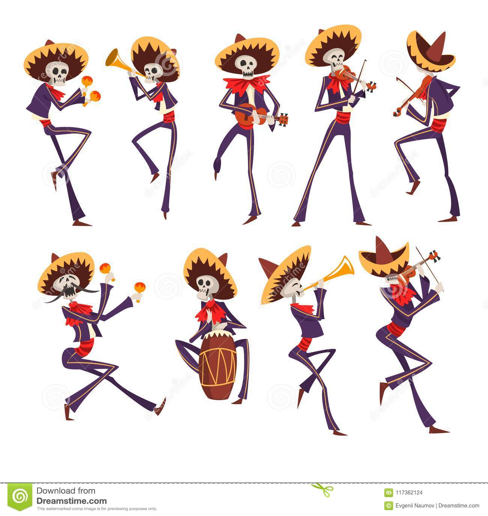 Squelette dans la danse nationale mexicaine de costumes, jouant le violon, trompette, tambour, Dia de Muertos, jour du vecteur mo