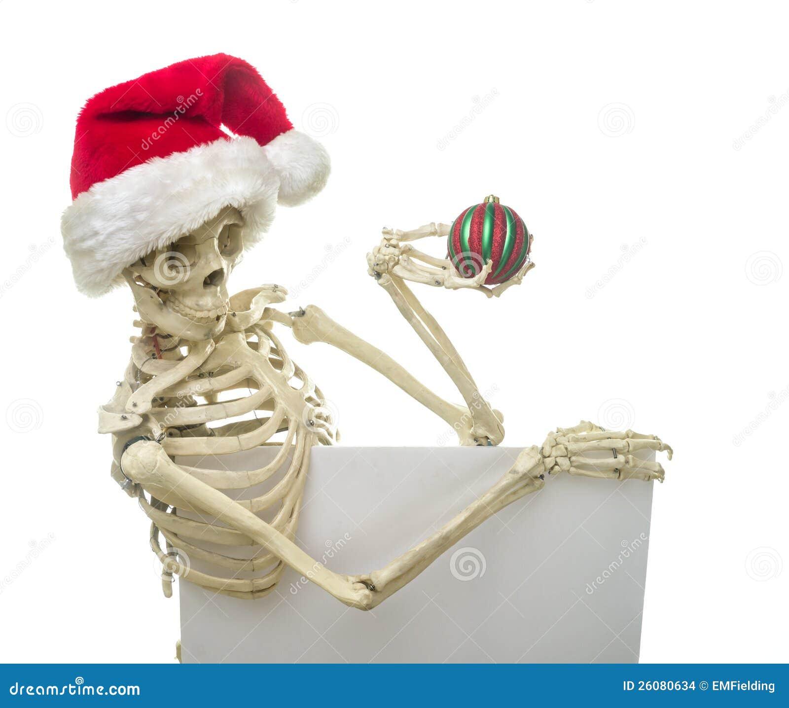 Squelette de Noël retenant un signe