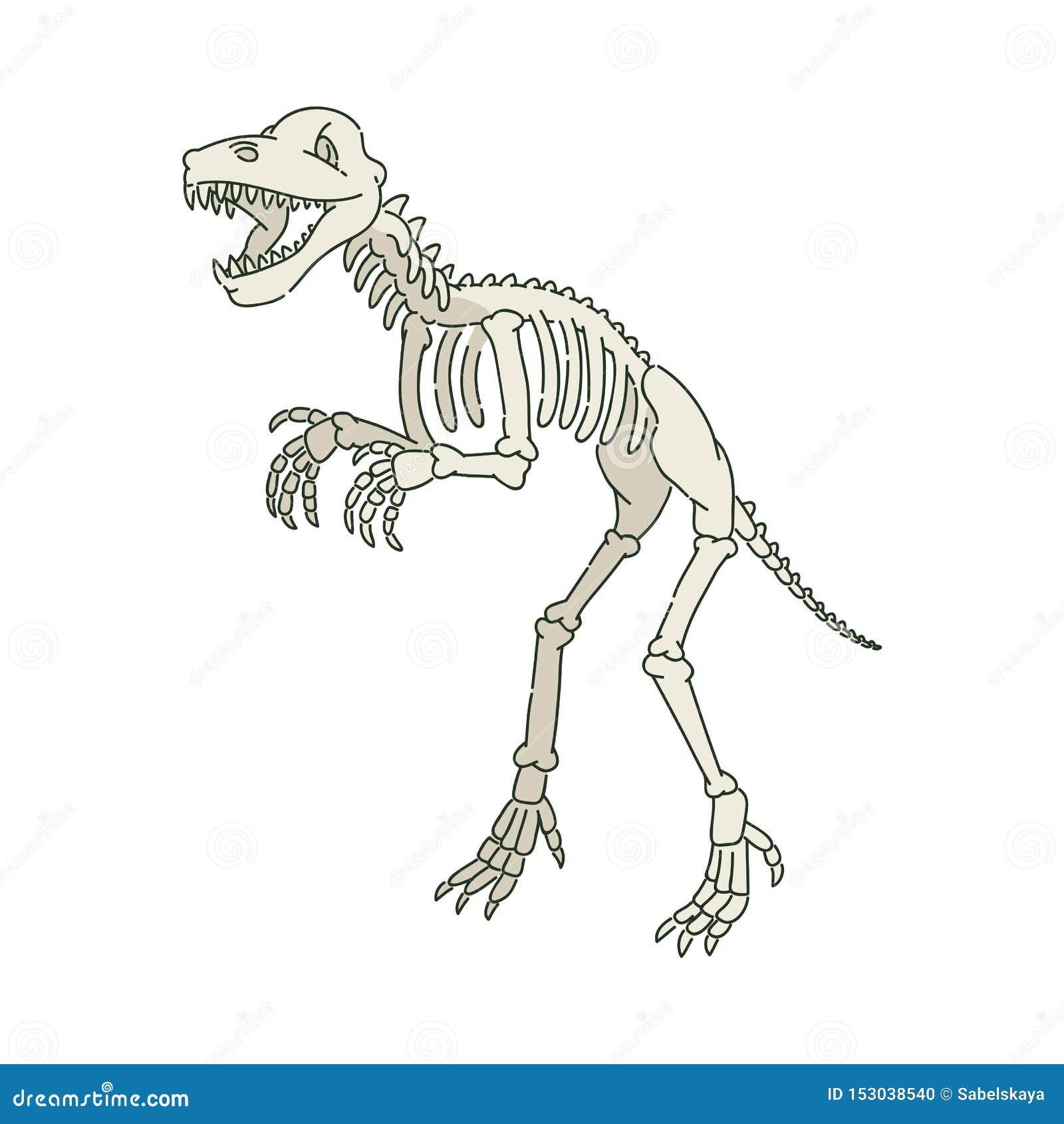 Squelette préhistorique antique de dinosaure dans le style de croquis