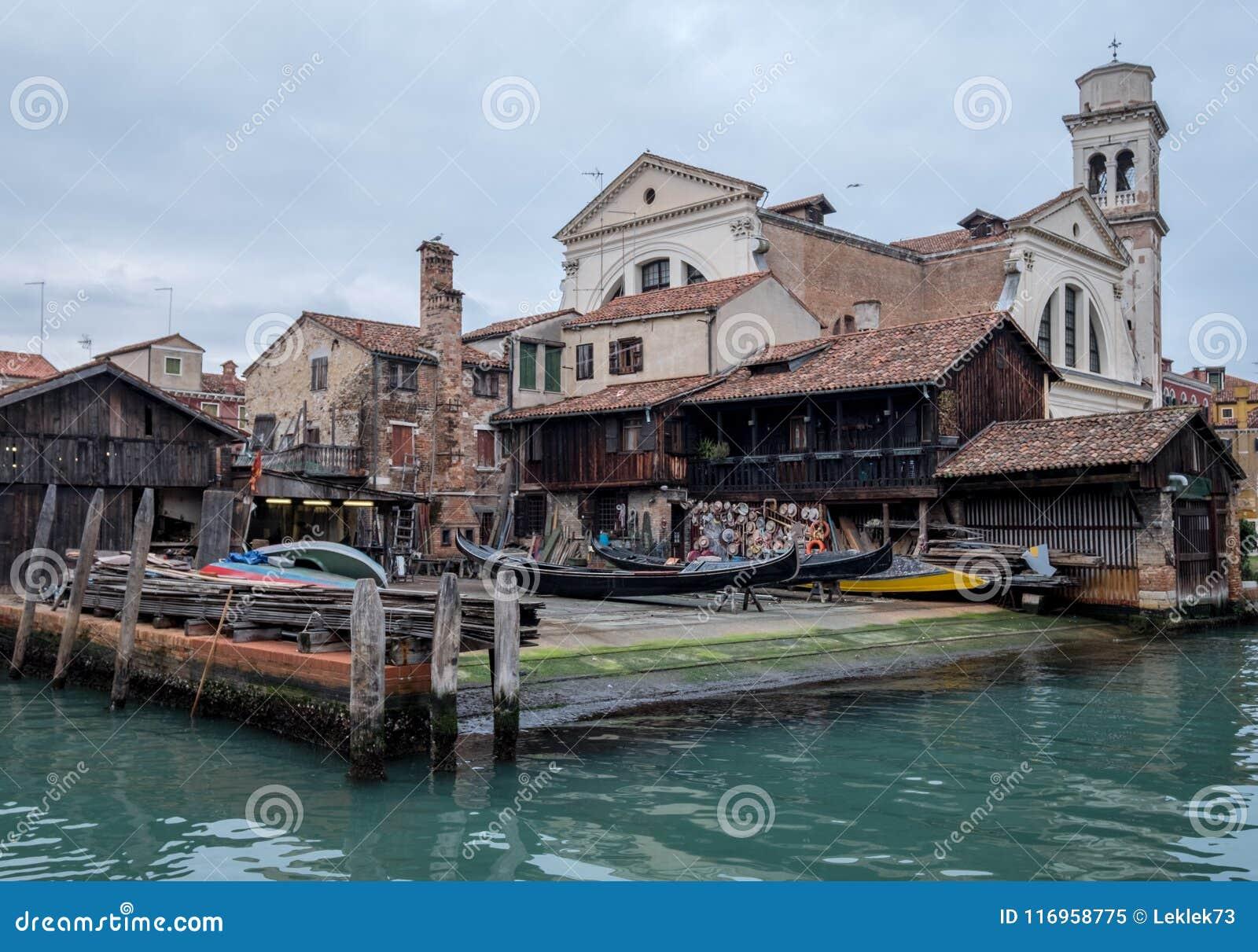 Squero di San Trovaso in Venice Italy. Historic gondola boatyard in Venice.