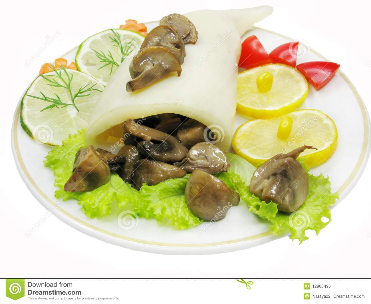 Royalty Free Stock Photo: Squid meal with mushrooms