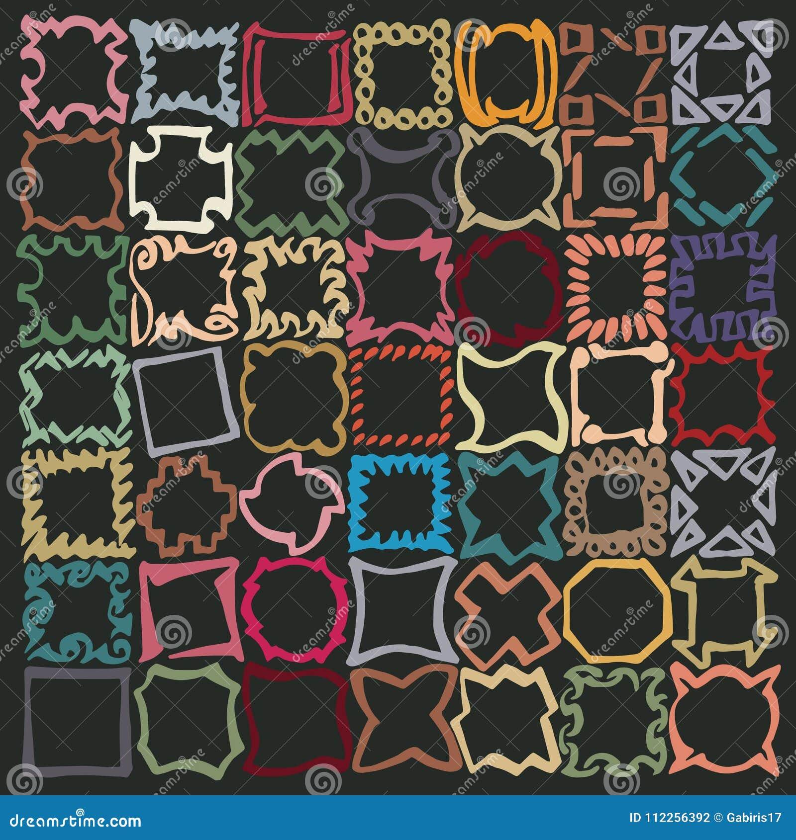 Squiggly отметка выравнивает основанную деревенскую картину, составленную squarish эскизов, линии