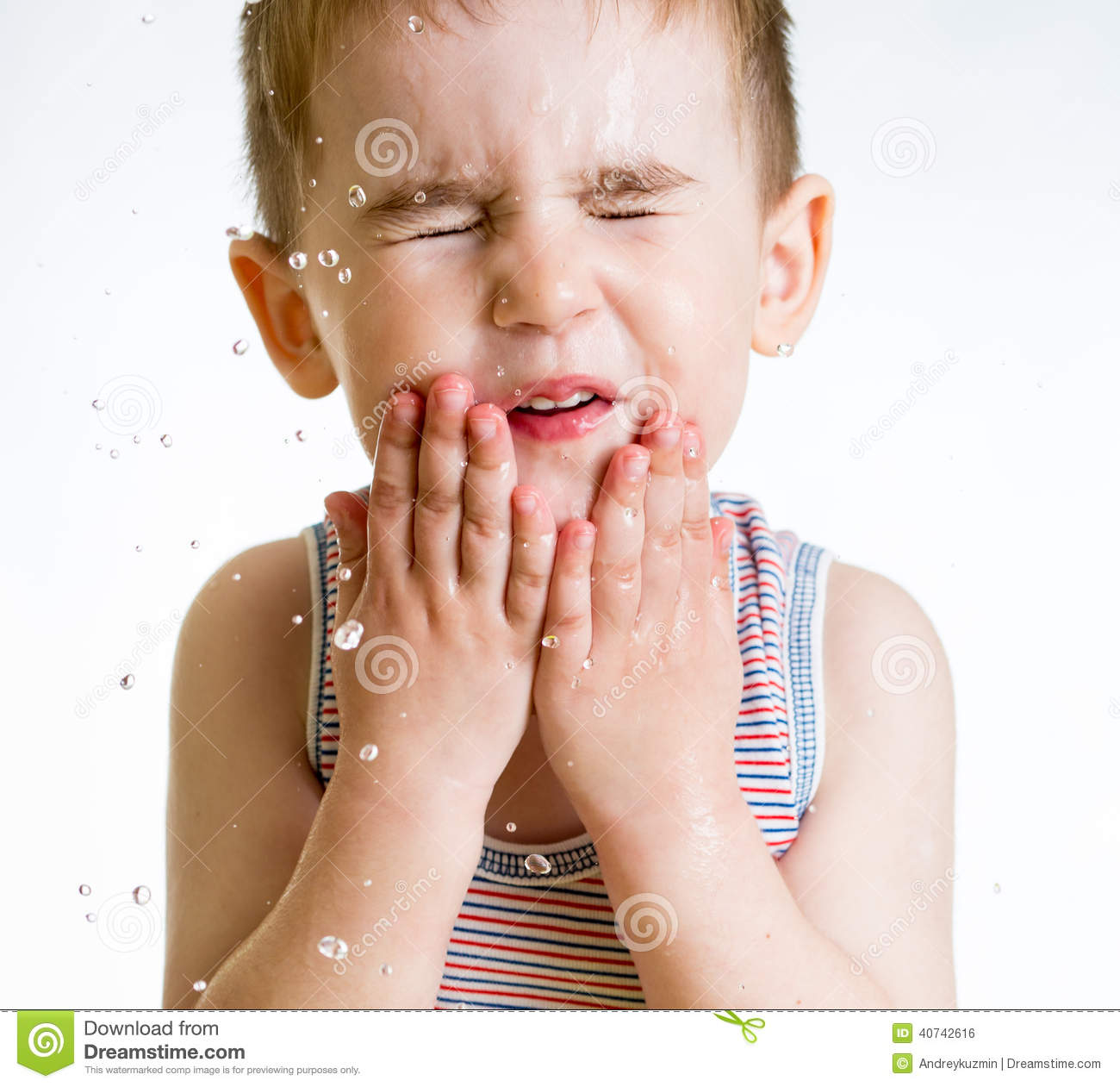 Squint Little Child Washing Face Stock Photo Image Of