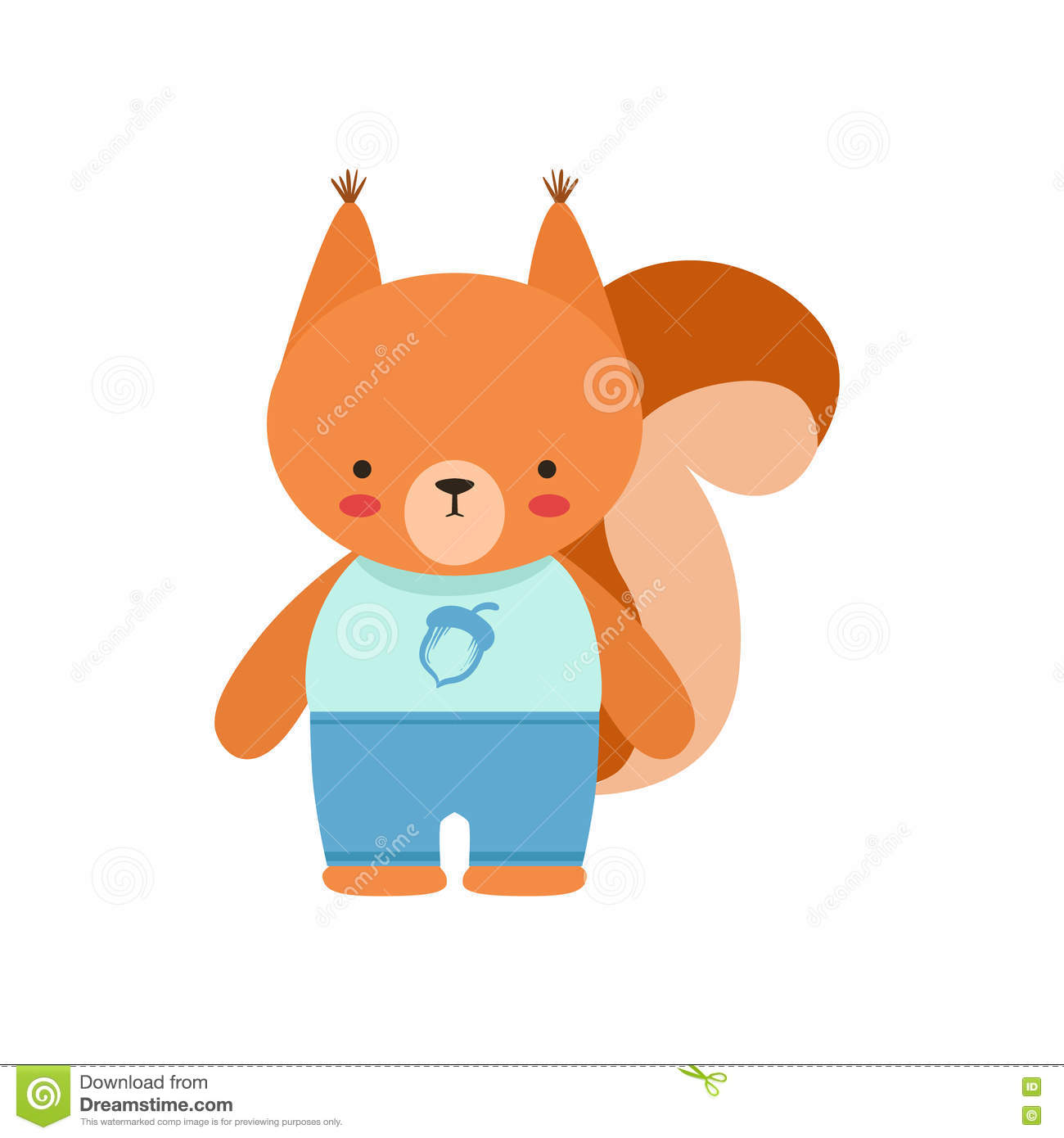 squirrel in blue top with acorn print and blue pants cute toy baby