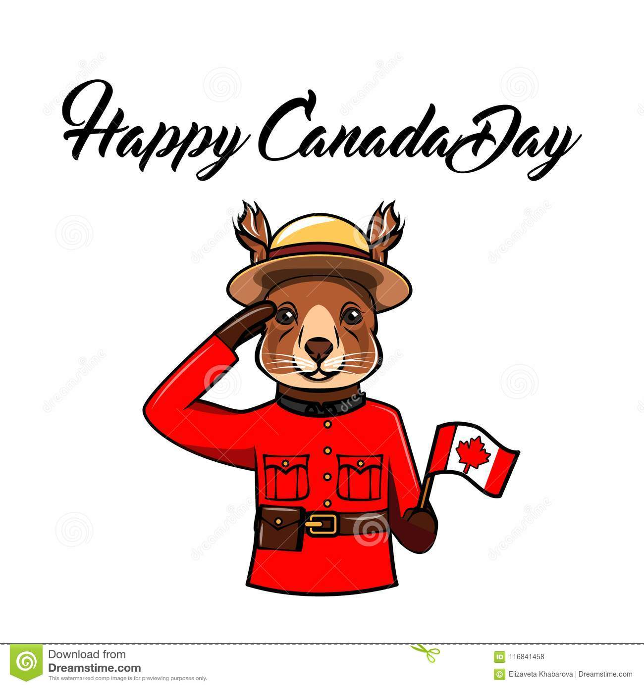 Squirrel Canada Day Greeting Card Animal Wearing In Form Of The