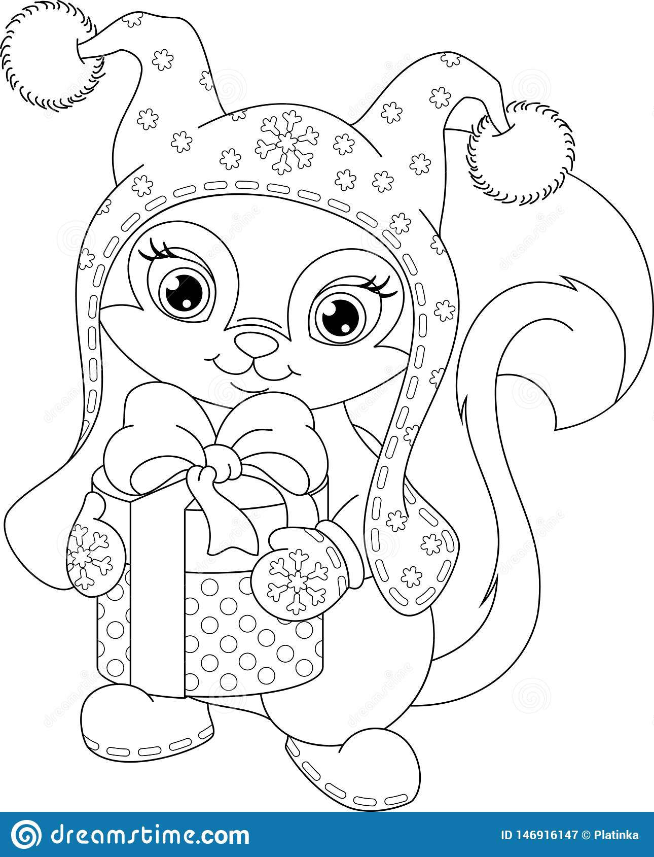 squirrel christmas coloring page stock vector