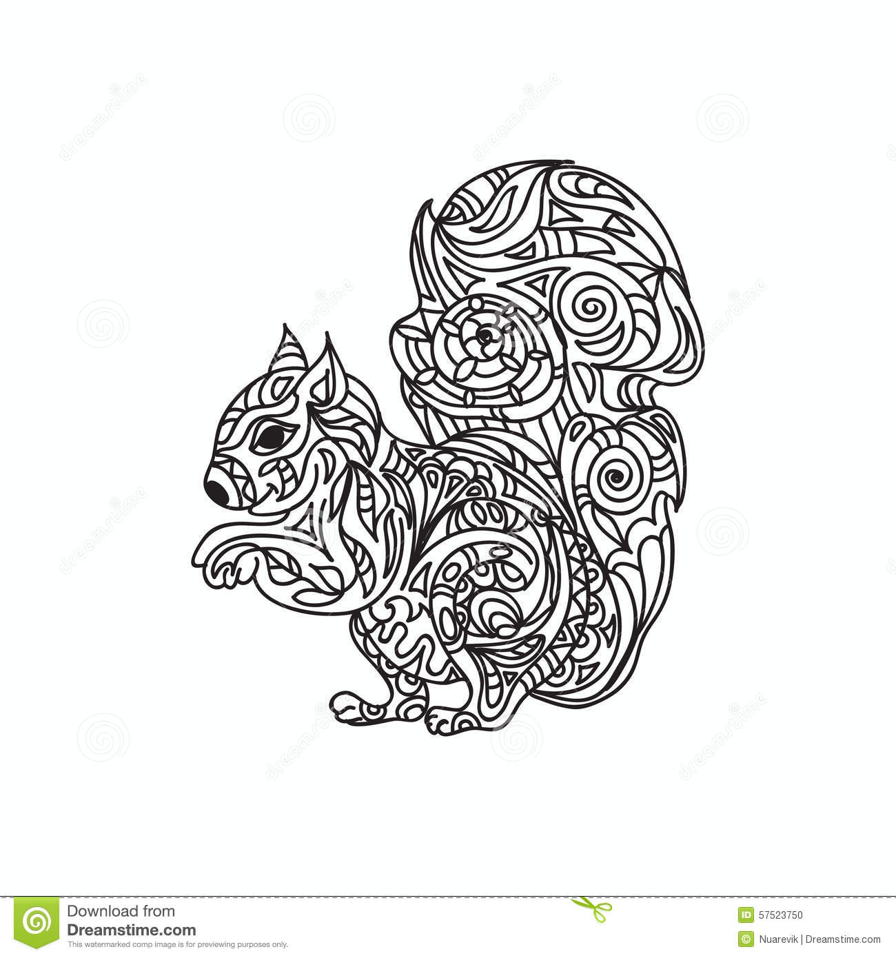 Stock Illustration Squirrel Coloring Page Isolated White Image57523750 on Cat Mask Coloring Page 2