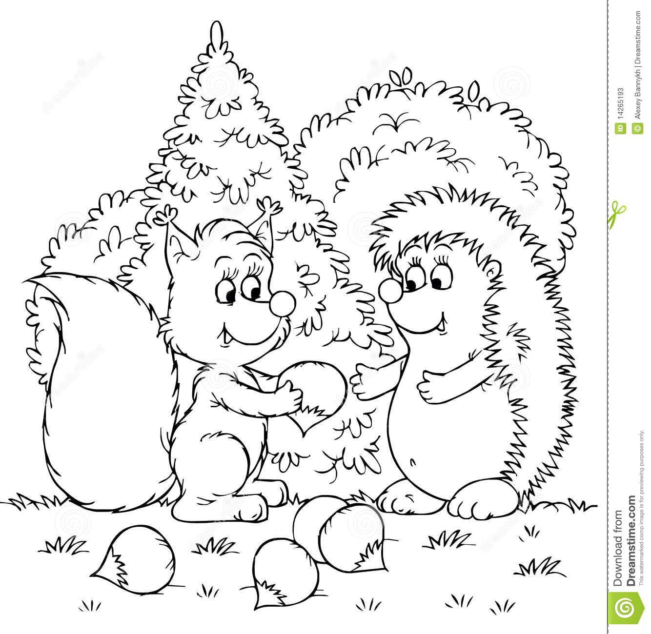 Black and white Illustration coloring Page Squirrel Shares Nuts