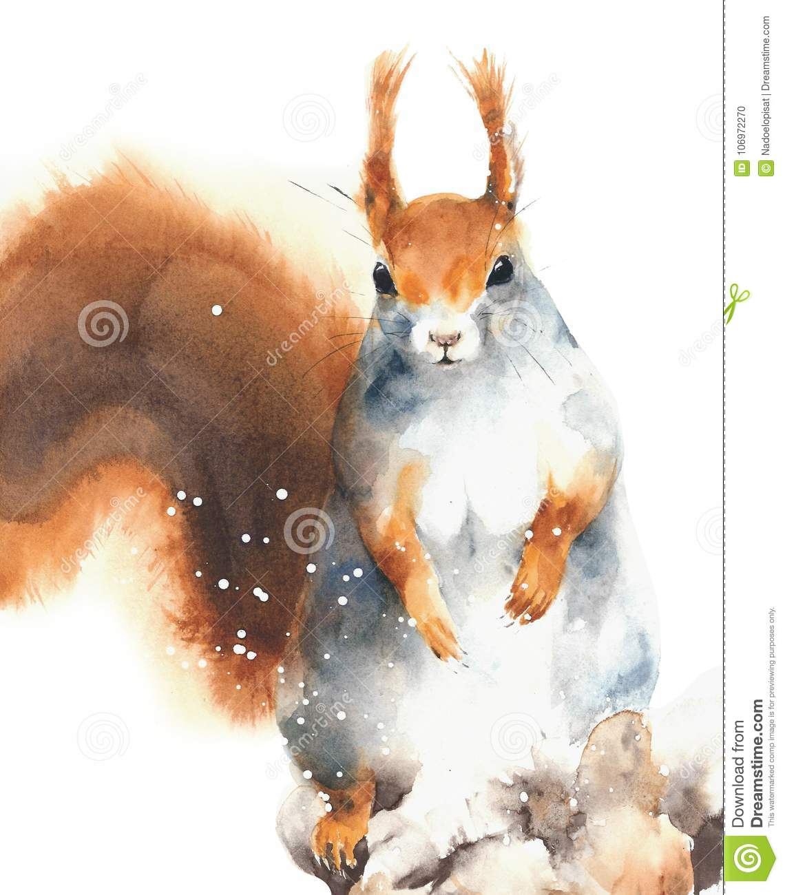 Download Squirrel Red Rodent Cute Animal In Winter Snowing Greeting Card Christmas Watercolor Painting Illustration