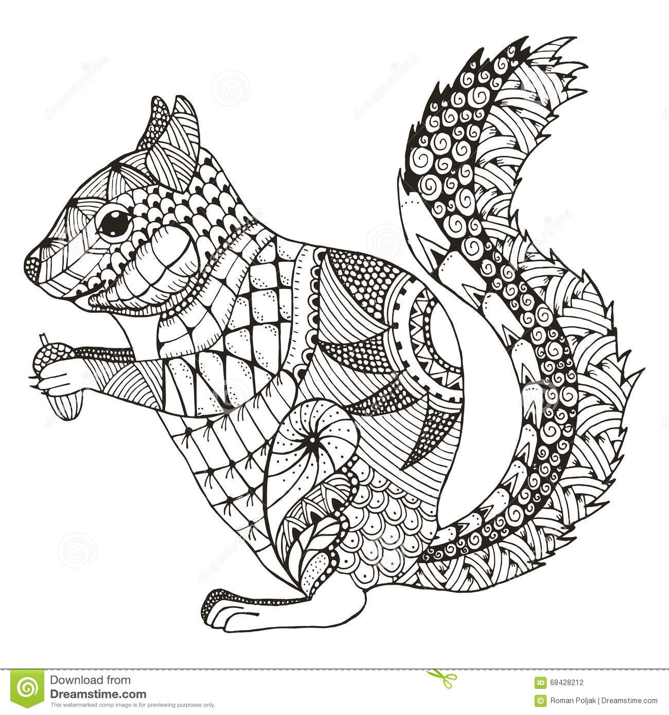 Squirrel Zentangle Stylized Vector Illustration Pattern