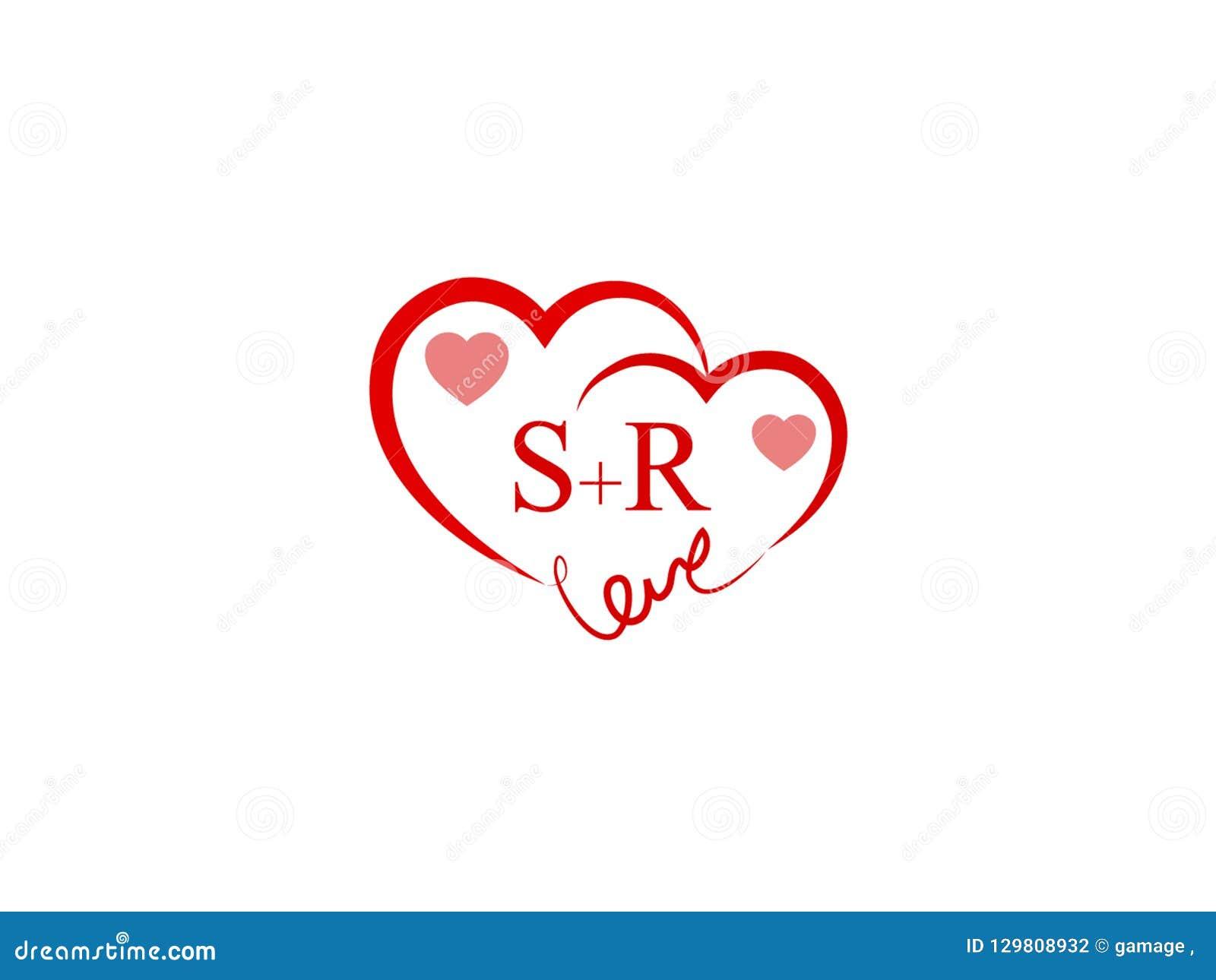 Sr Initial Heart Shape Red Colored Logo Stock Vector Illustration Of Design Flat 129808932