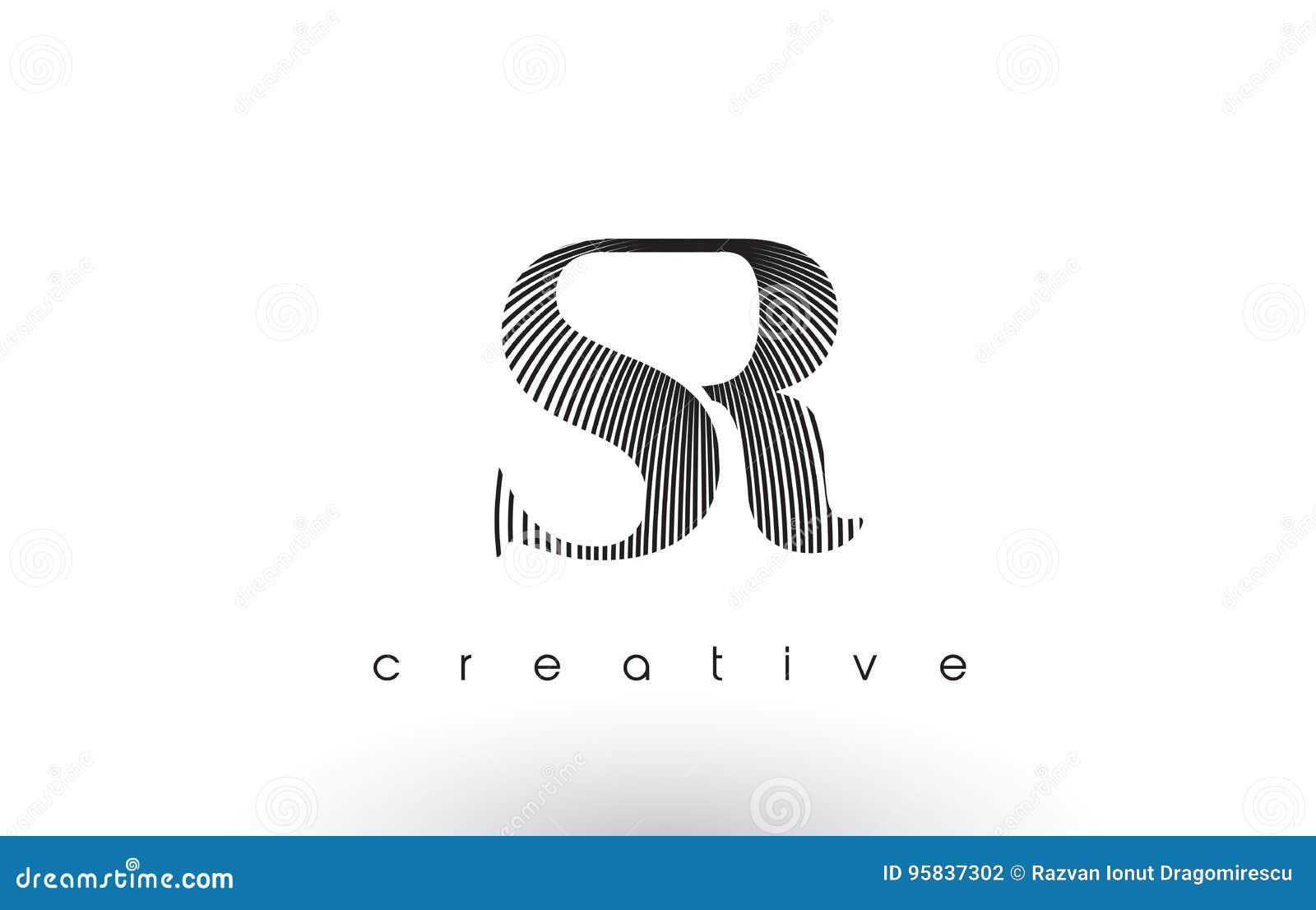 SR Logo Design With Multiple Lines et couleurs noires et blanches