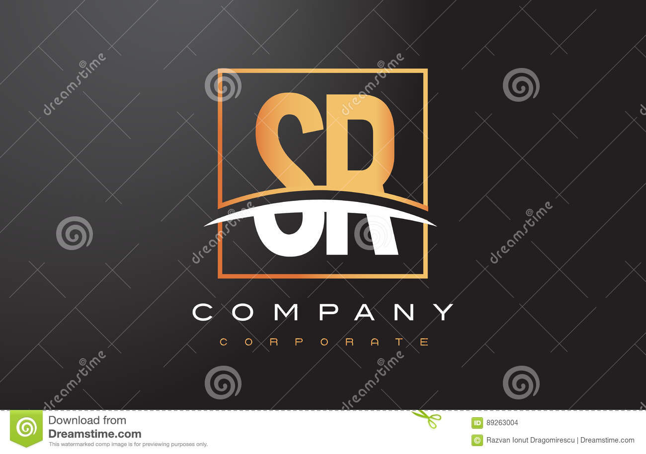 SR S R Golden Letter Logo Design with Gold Square and Swoosh.