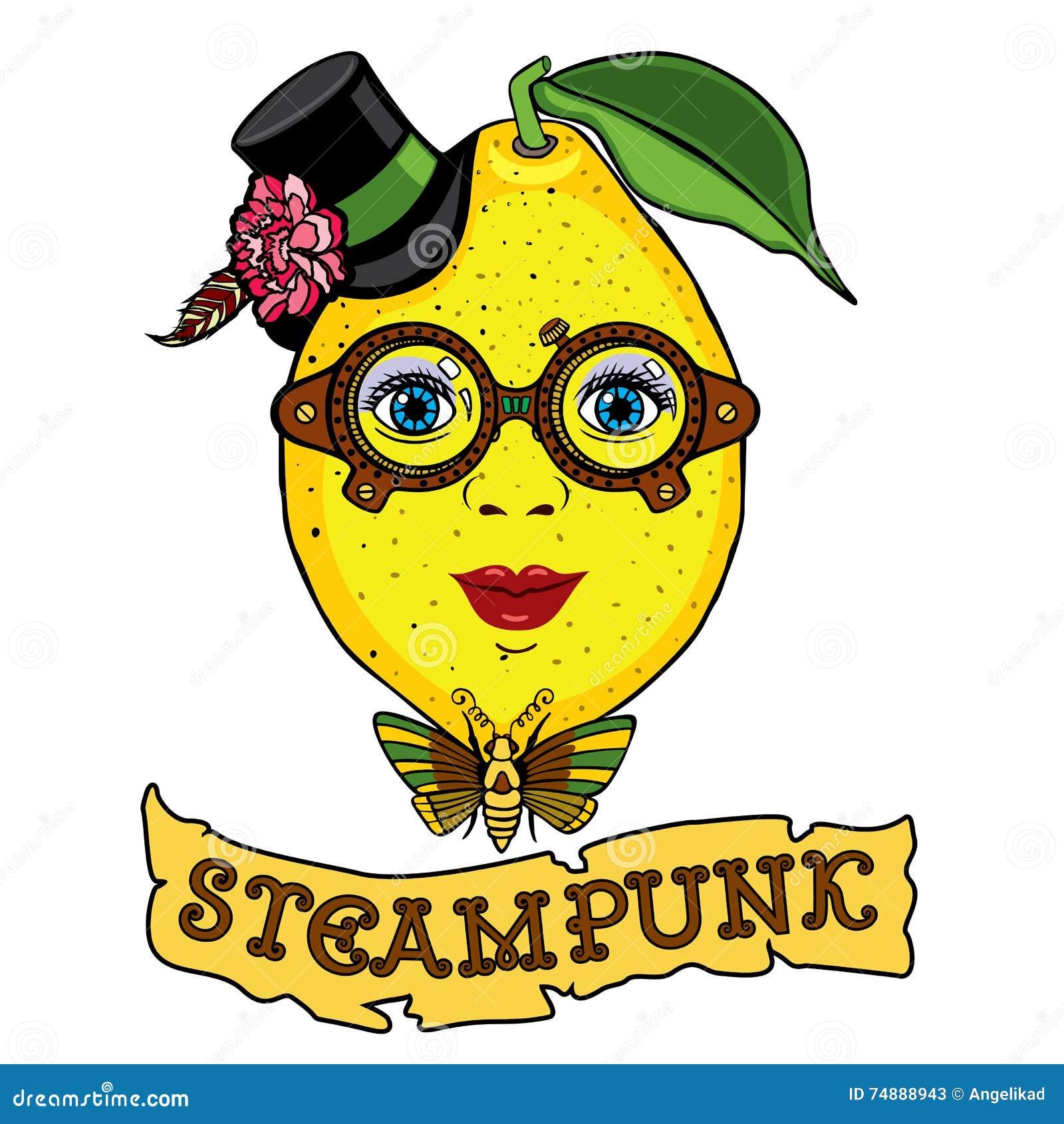 Sra. Desenho do limão ao estilo do steampunk