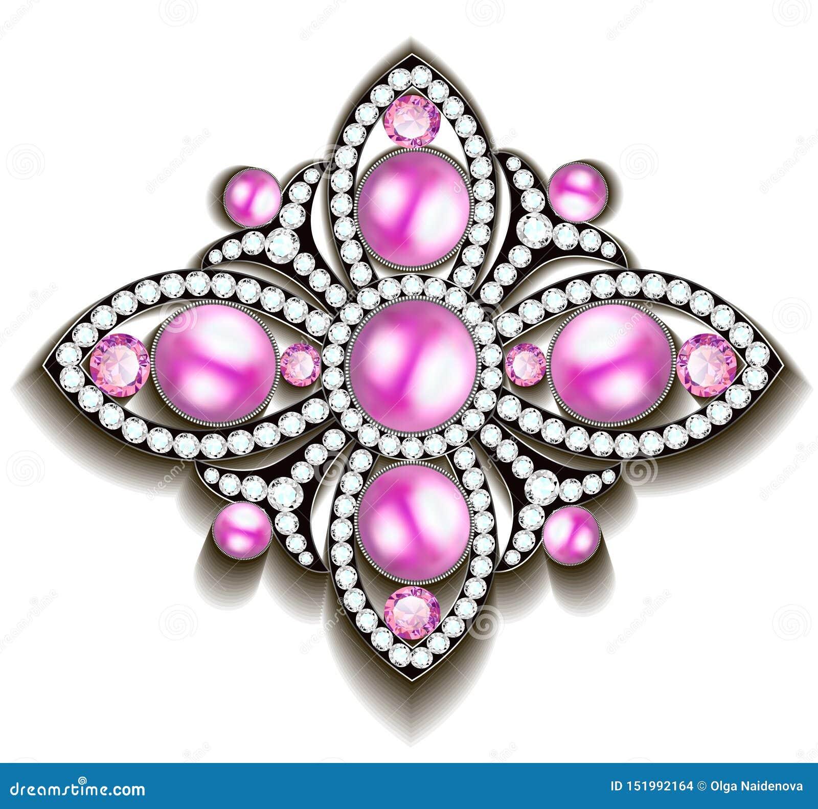 Srebna broszka z różowymi perłami