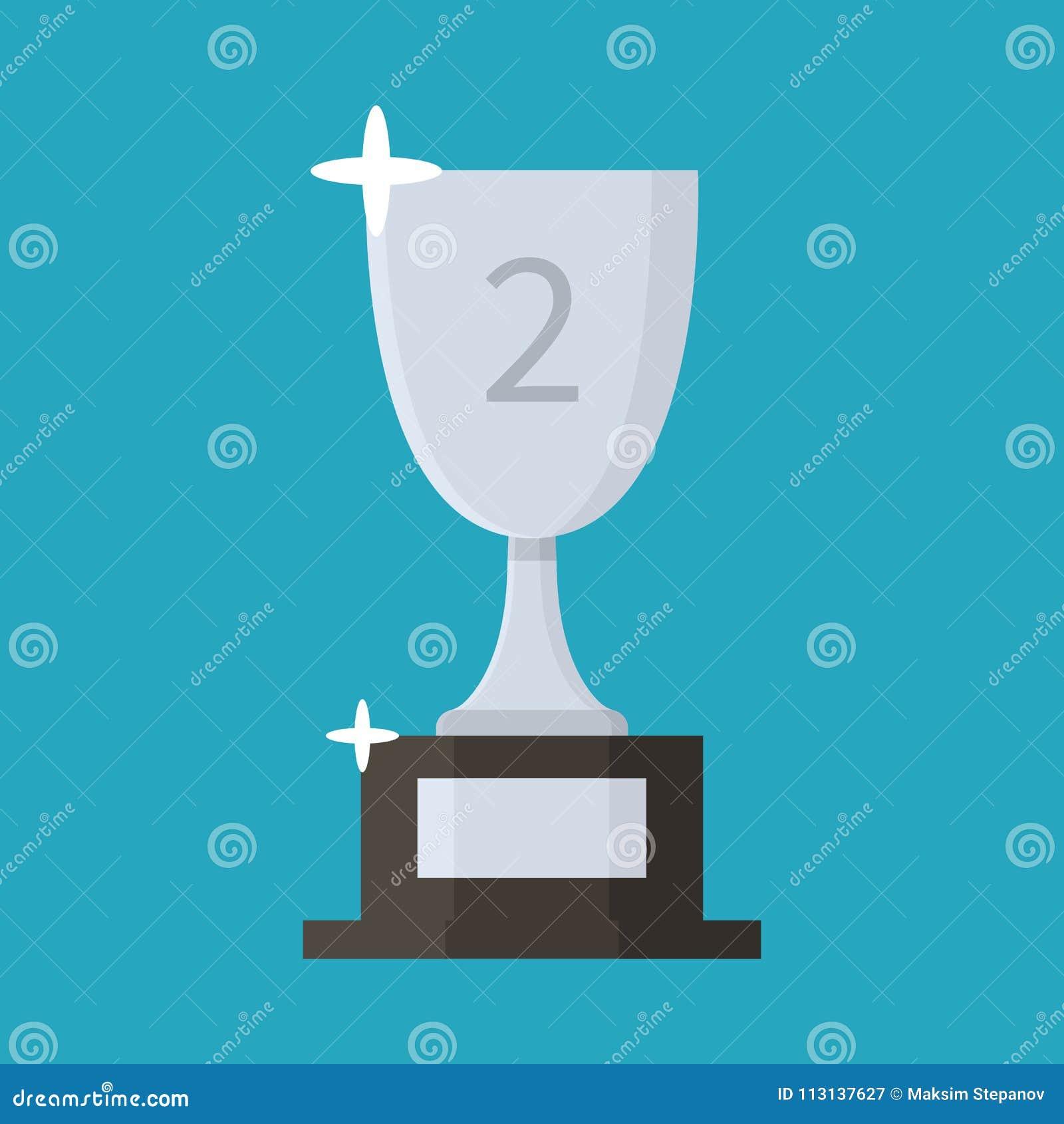 Srebna filiżanki mieszkania ikona trofeum nagradzający po drugie należy umieścić Kreskówka styl również zwrócić corel ilustracji