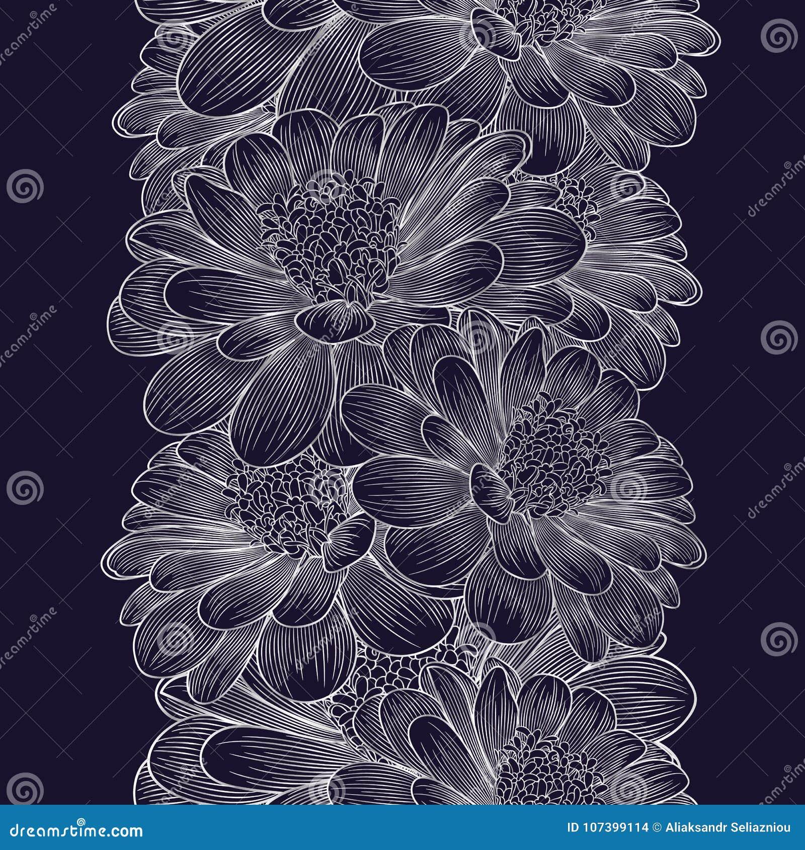 Srebnego bezszwowego rysunku kwiecisty tło z kwiatu chamomile