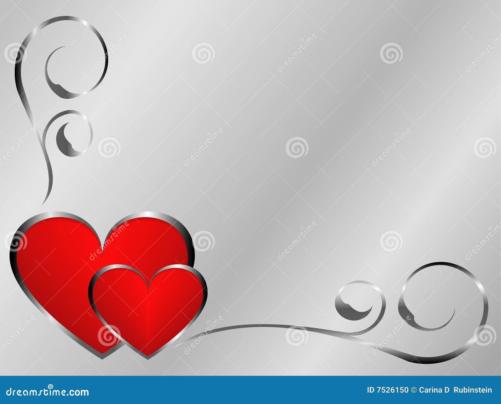 Srebni czerwieni valentines