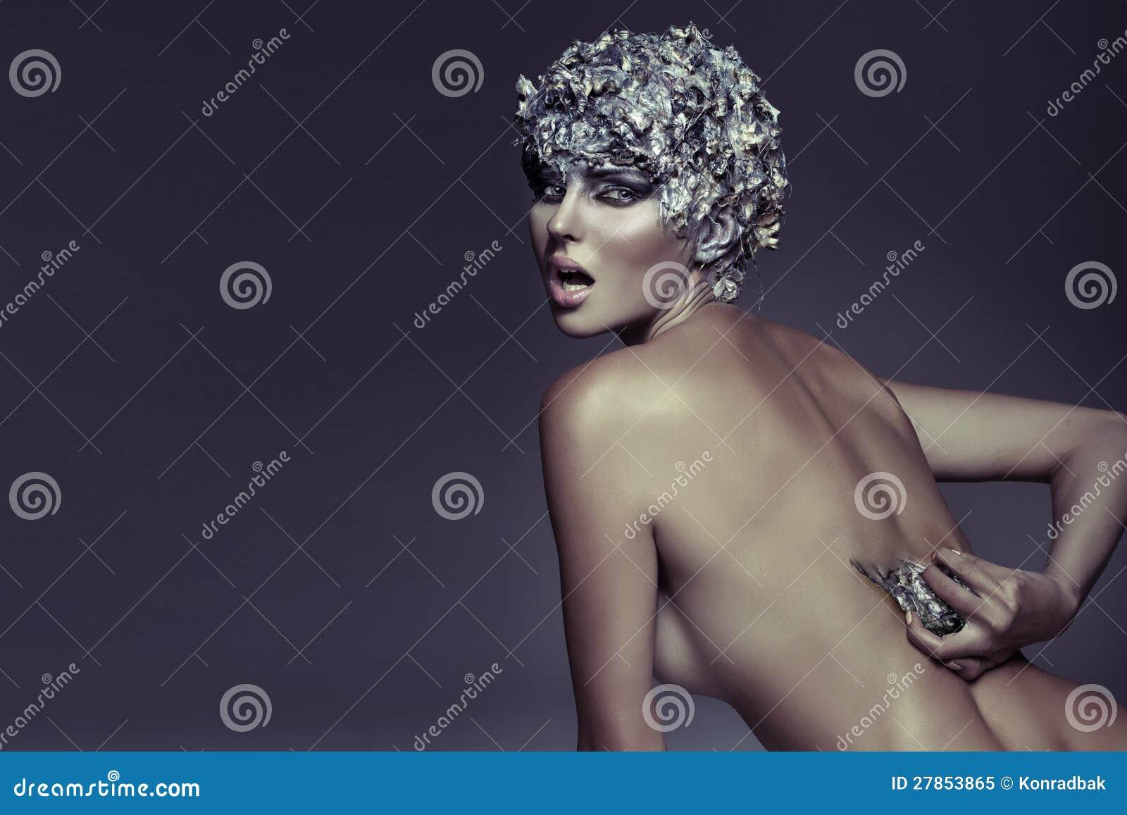 Srebrnowłosa kobieta sztuki fotografia