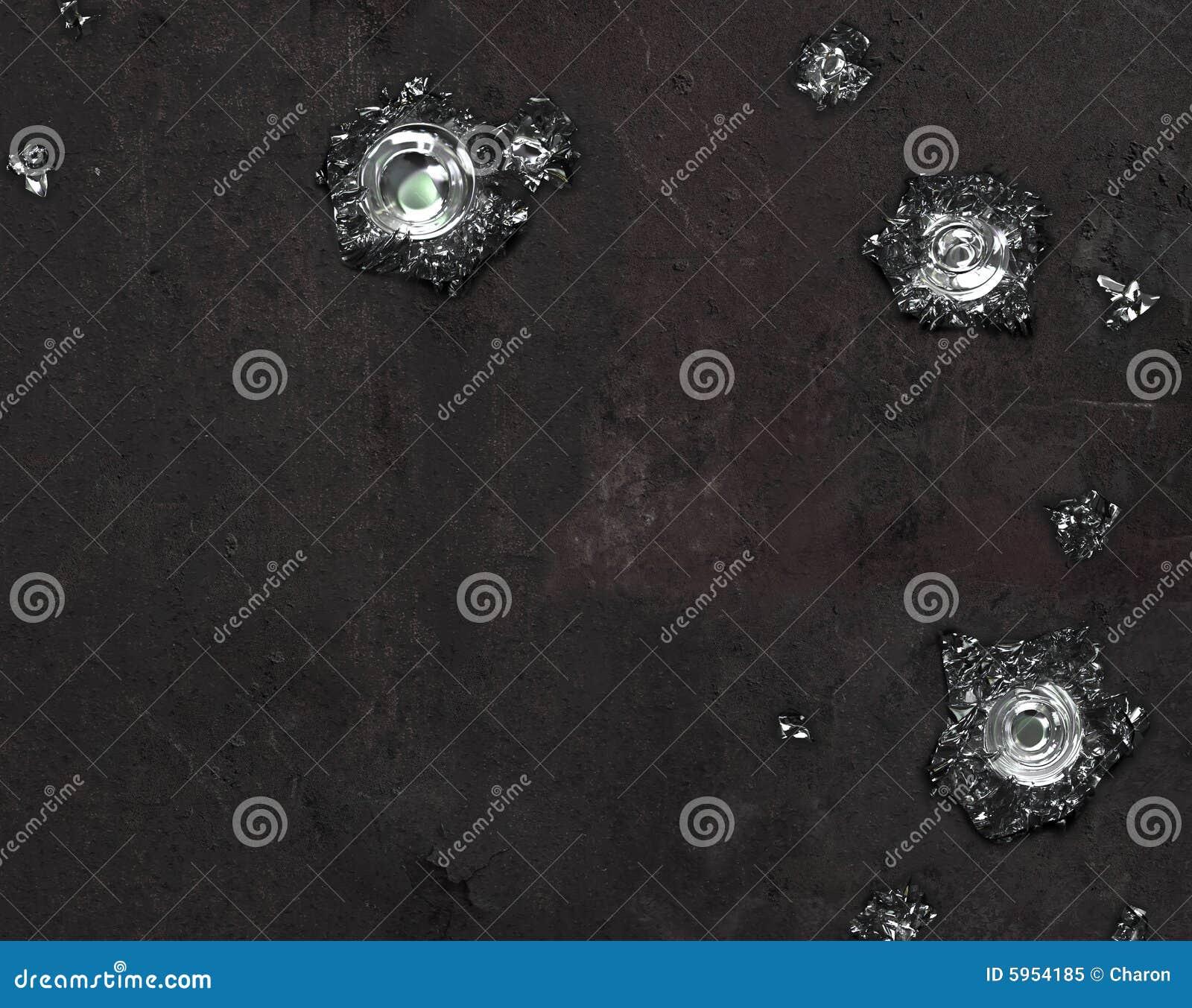 Srebro textured czarne dziury po kulach ściany