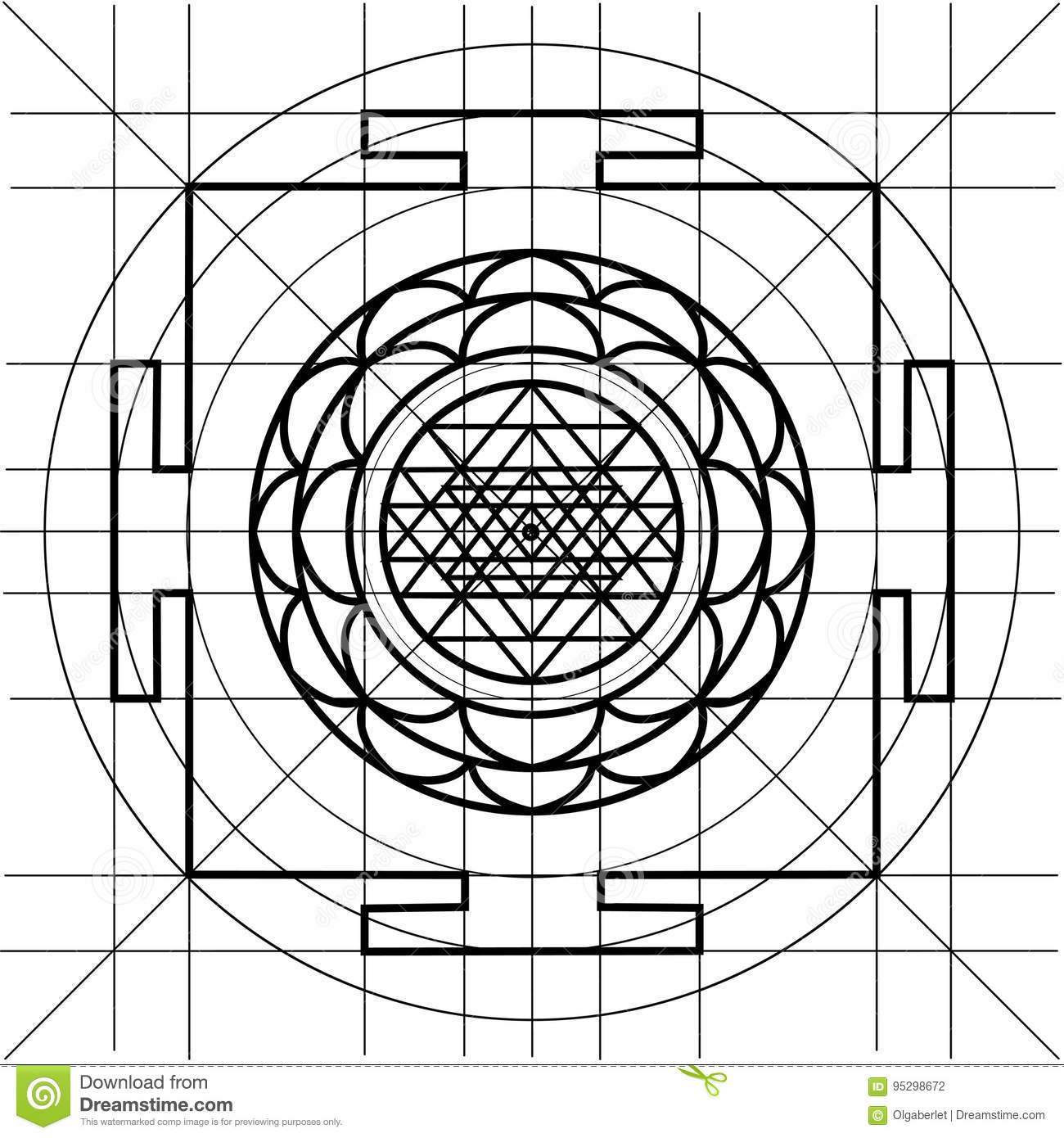 Sree Yantra. Sacred Geometry Coloring Book Stock Vector ...