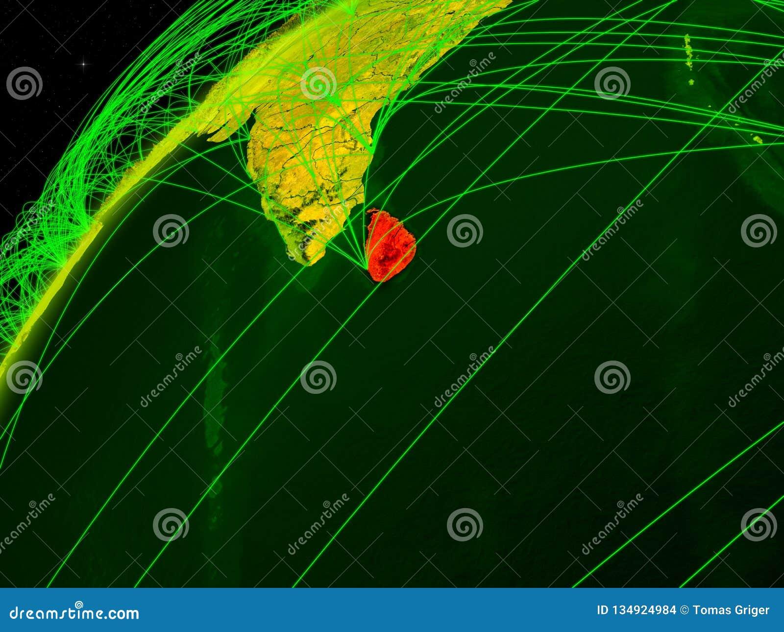 Sri Lanka auf Erde mit Netz