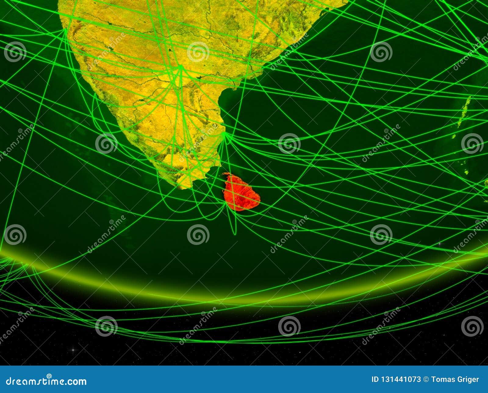 Sri Lanka auf grünem Modell von Planet Erde mit dem Netz, das digitales Zeitalter, Reise und Kommunikation darstellt Abbildung 3D