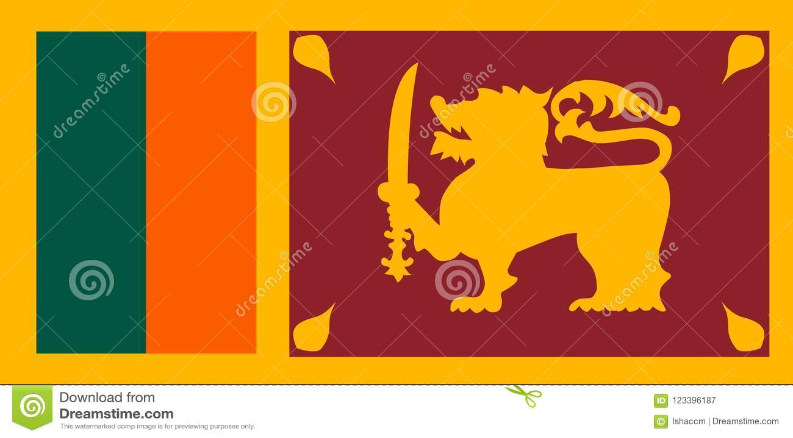 Sri Lanka flaggavektor Illustration av den Sri Lanka flaggan