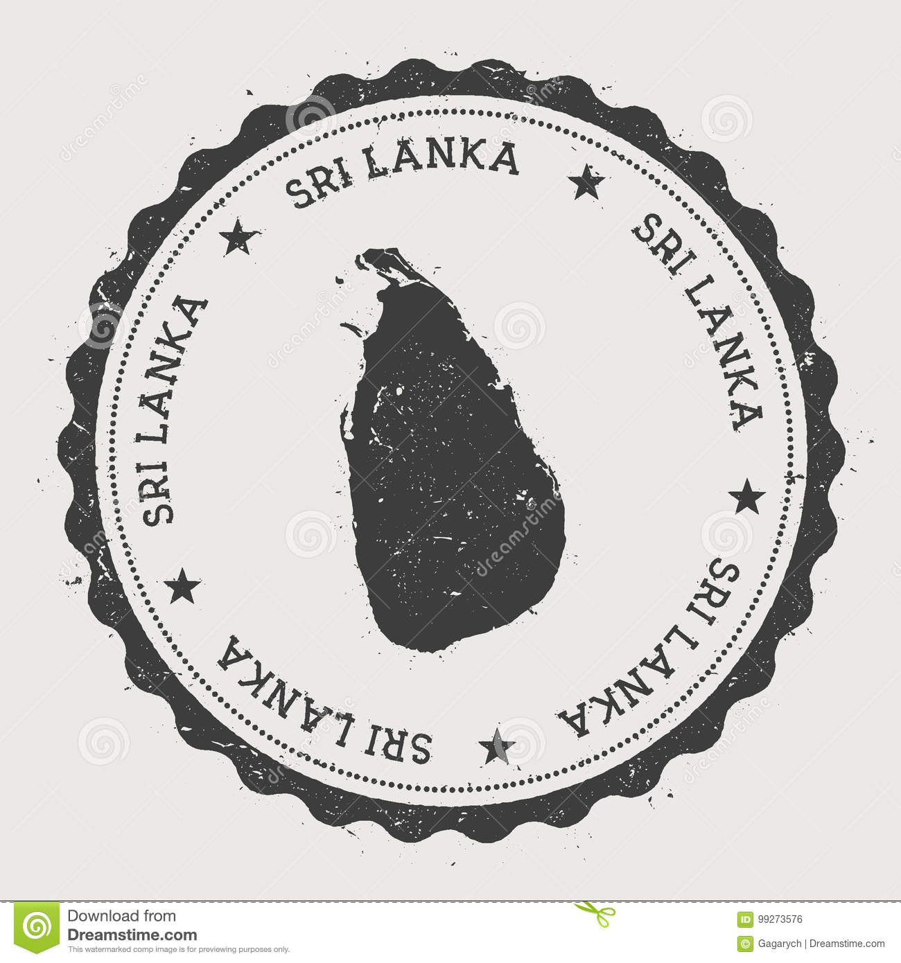 Sri Lanka Hipster Round Rubber Stamp With Country  Stock Vector