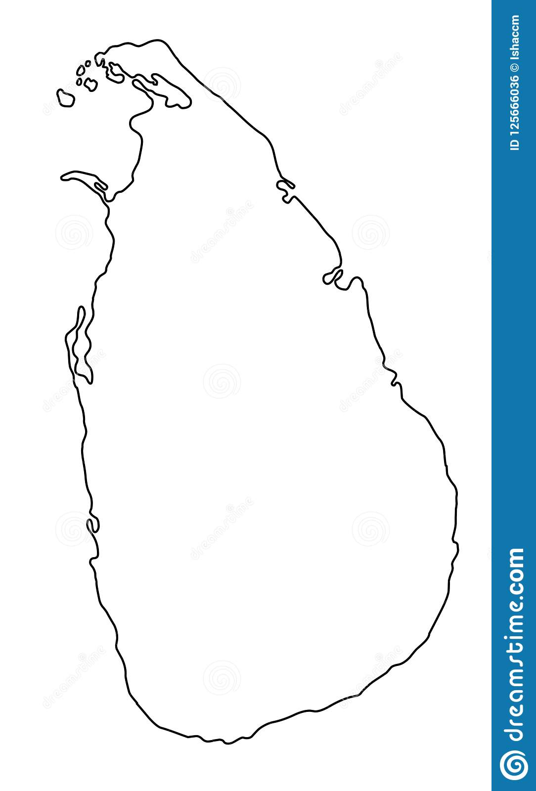 Sri Lanka Map Outline Vector Illustration Stock Vector ...