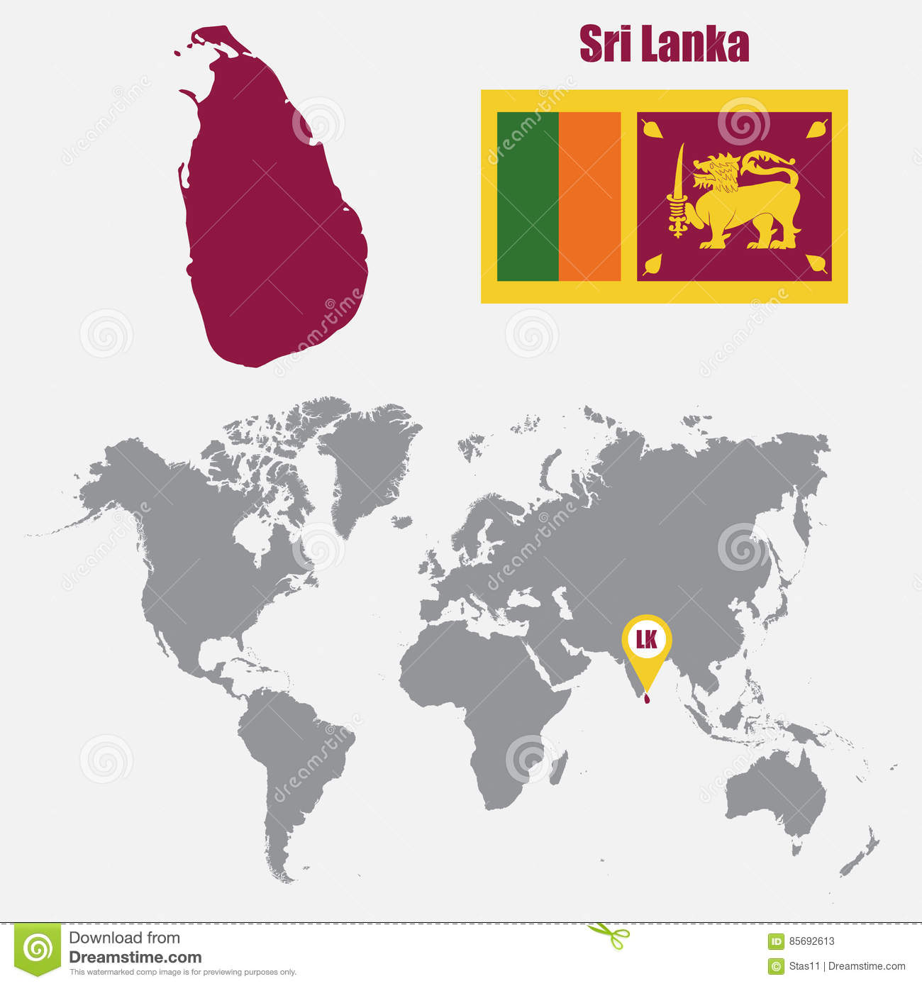 Sri Lanka World Map Sri Lanka Map On A World Map With Flag And Map Pointer. Vector  Sri Lanka World Map