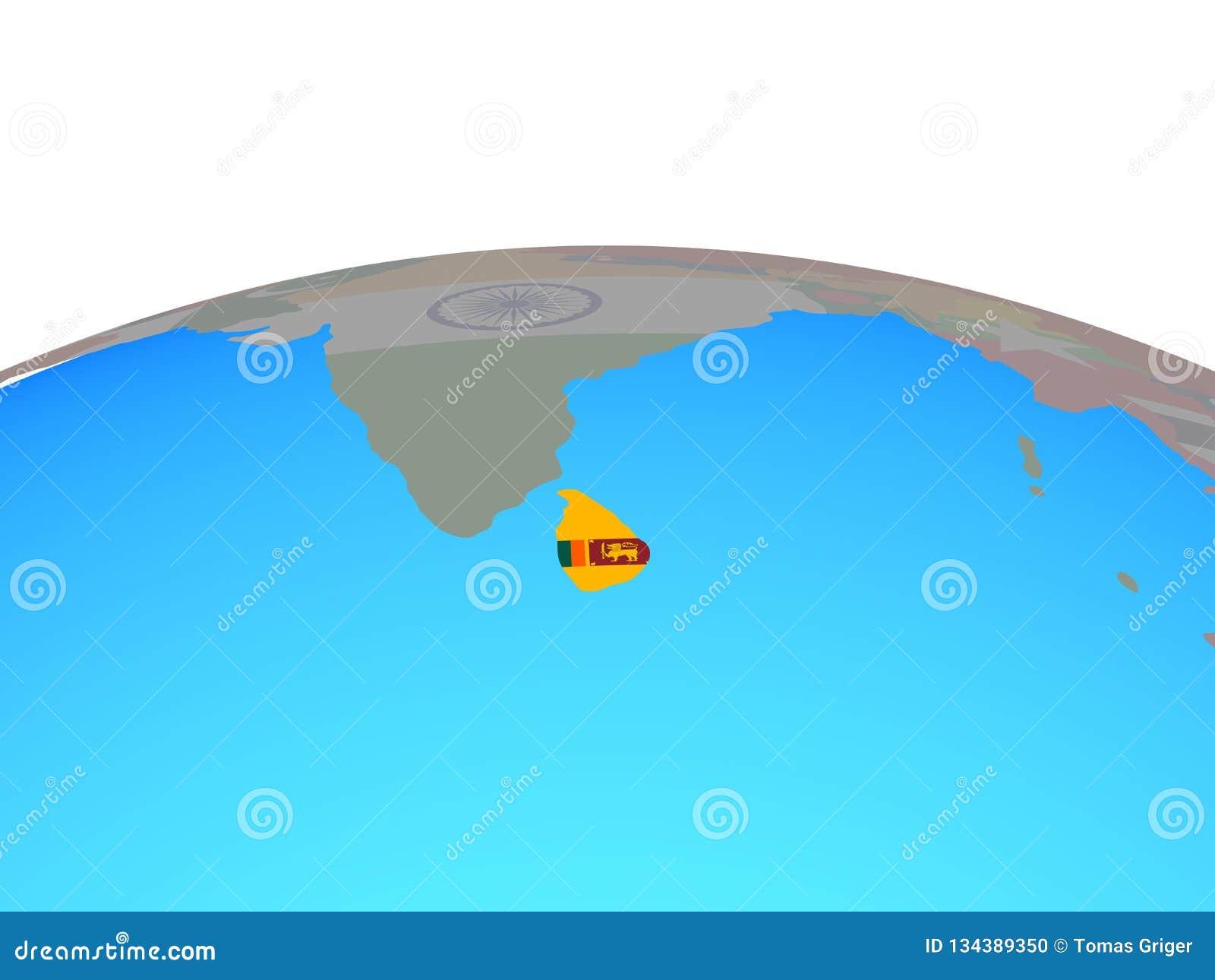 Map Of Sri Lanka With Flag On Globe Stock Illustration ...