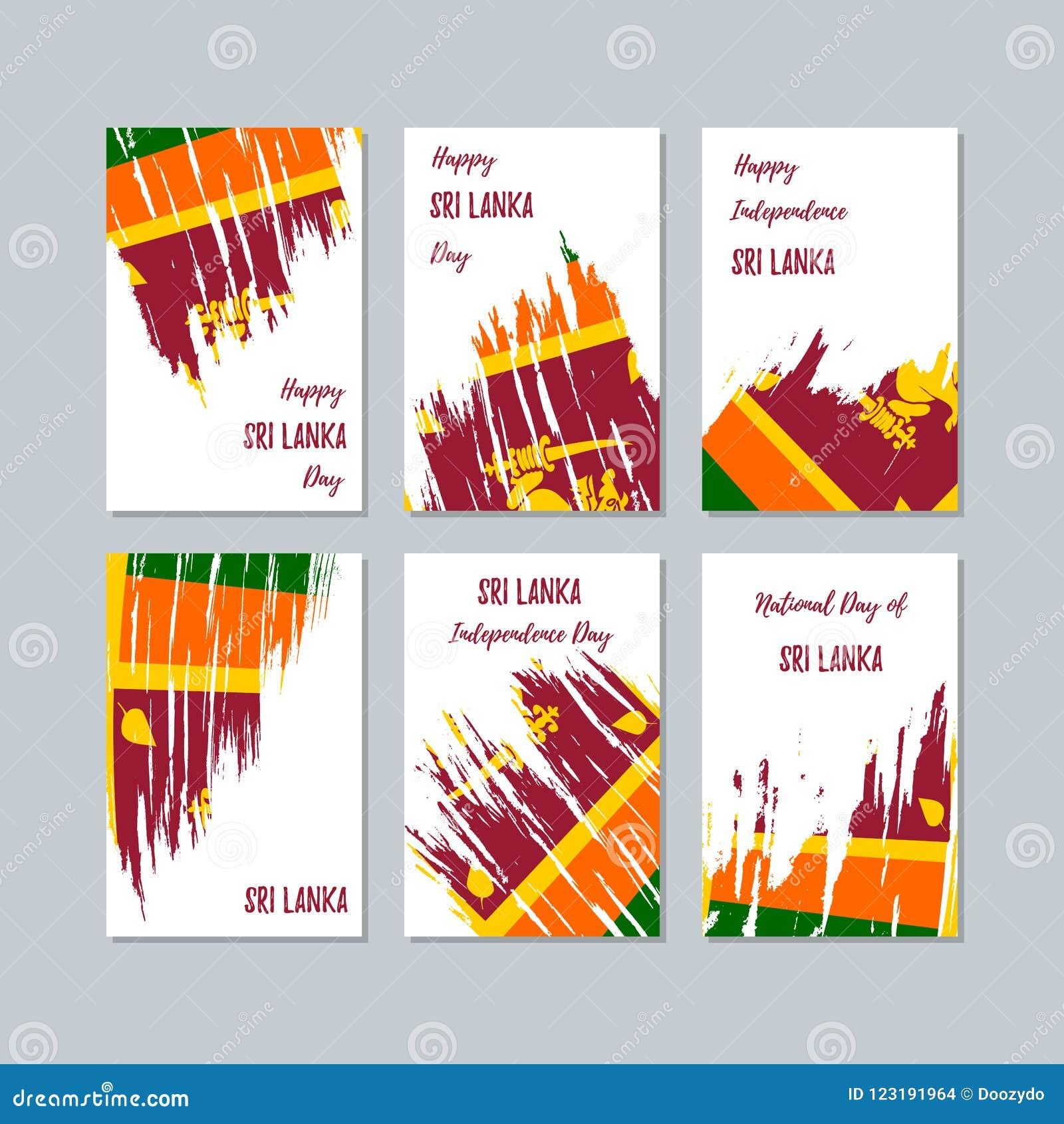 Sri Lanka Patriotic Cards For National Day Stock Vector