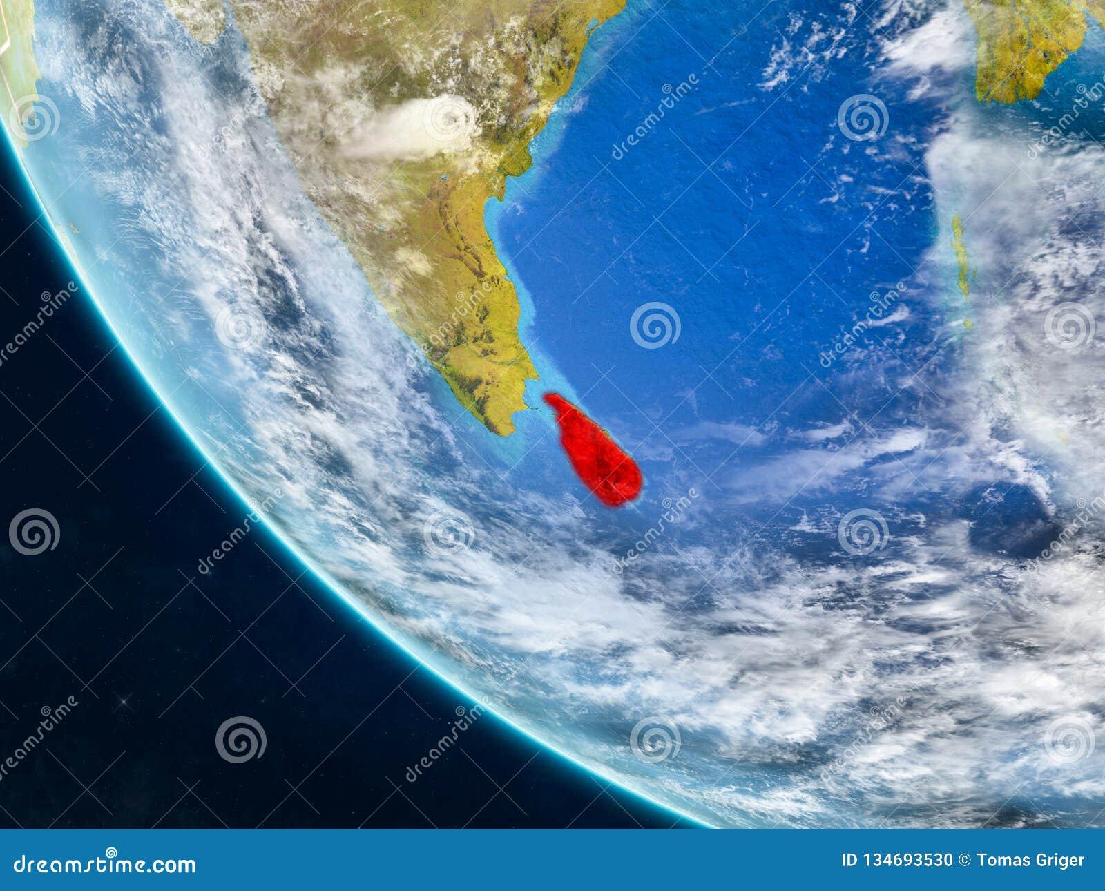 Sri Lanka vom Raum auf Erde