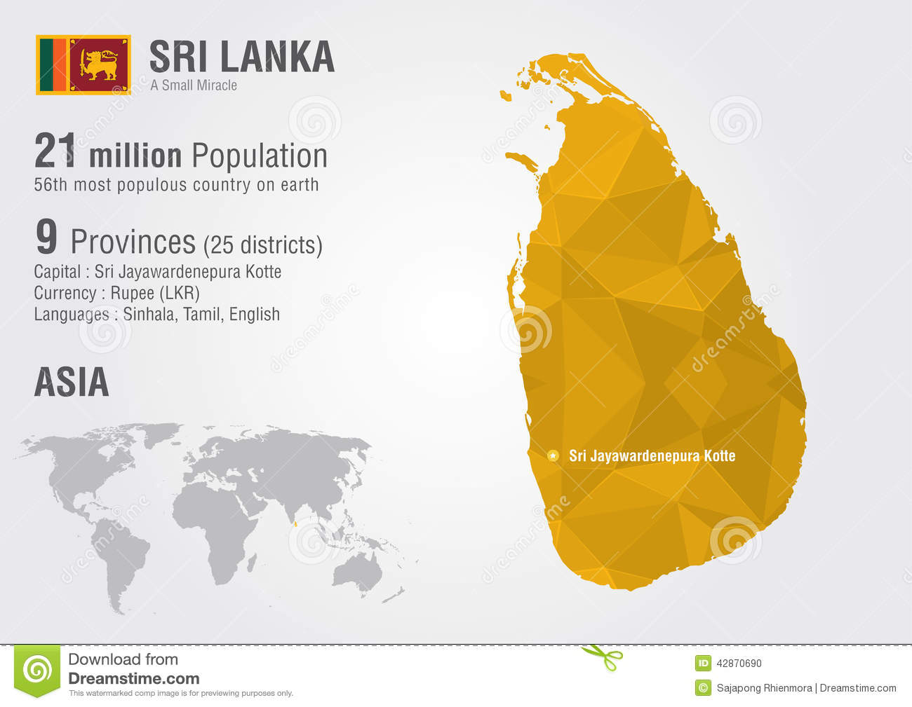 Sri Lanka World Map With A Pixel Diamond Texture  Stock Vector