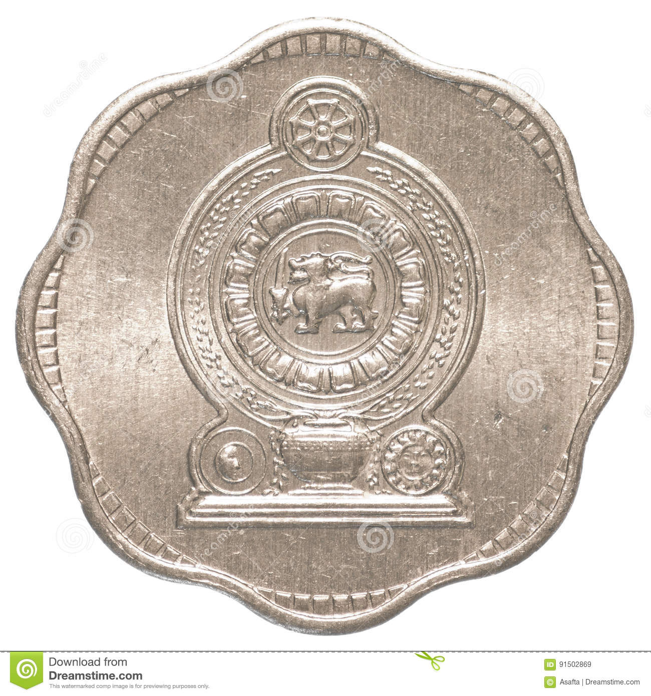 2 Sri Lankan Rupee Cents Coin Stock Image Image Of Symbol Asian