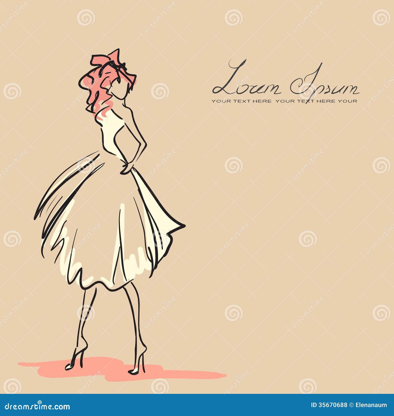Fantastic Woman In Beautiful Dress Vector By Viktoria1703  Image 1064752