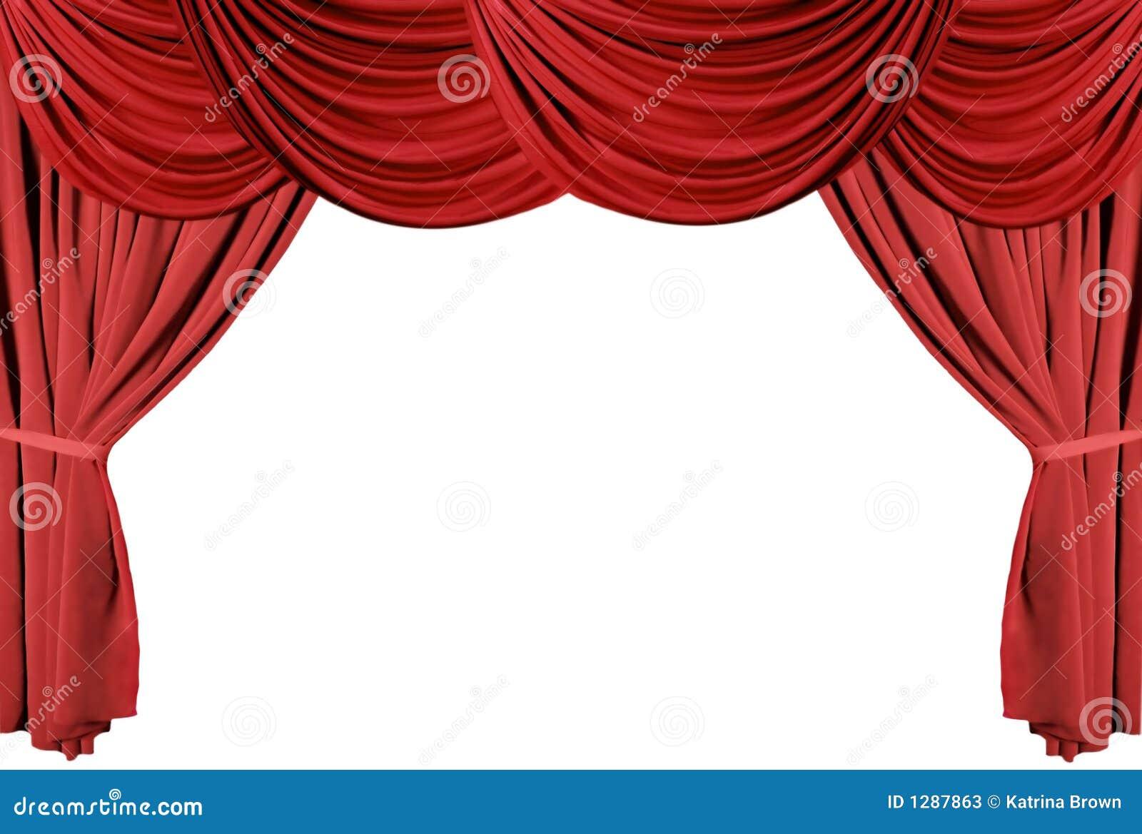 Photos stock: Série drapée rouge 3 de rideaux en théâtre