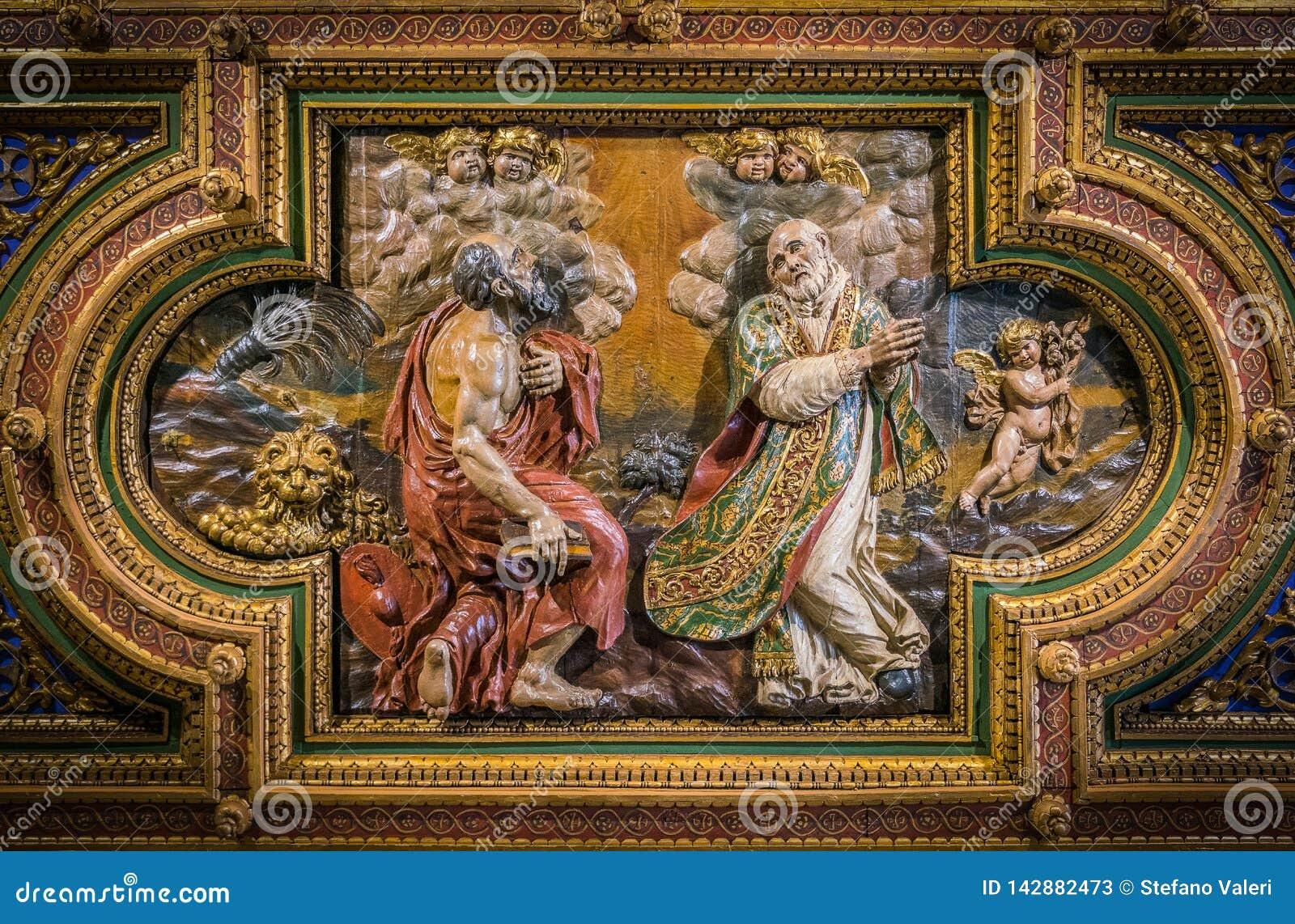 SS Jerome e Philip Neri na igreja do cofre-forte do della Carità de San Girolamo em Roma, Itália