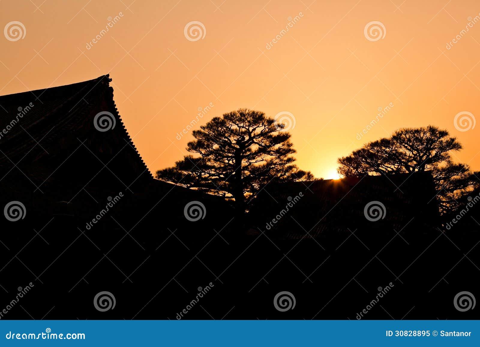SSilhouette della costruzione giapponese di tradizione