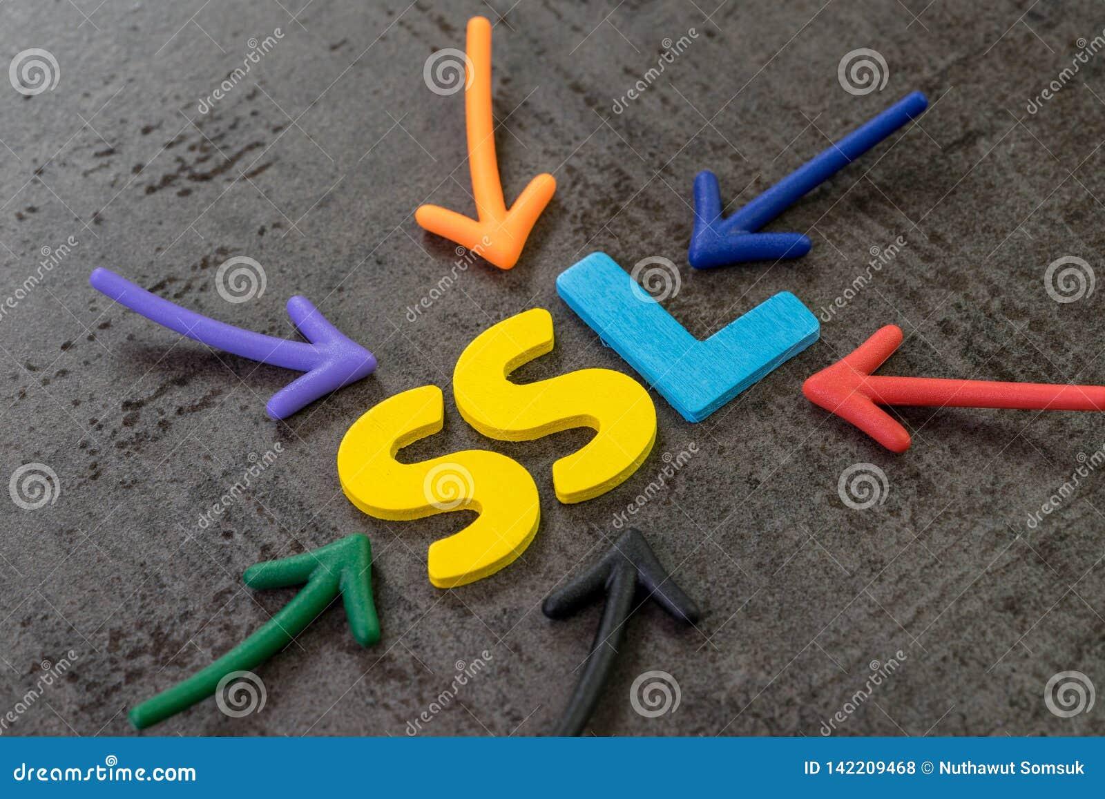 SSL Secure Sockets Layer begrepp, mång- färgpilar som pekar till ordet SSL på mitten av den svarta svart tavlaväggen för cement,