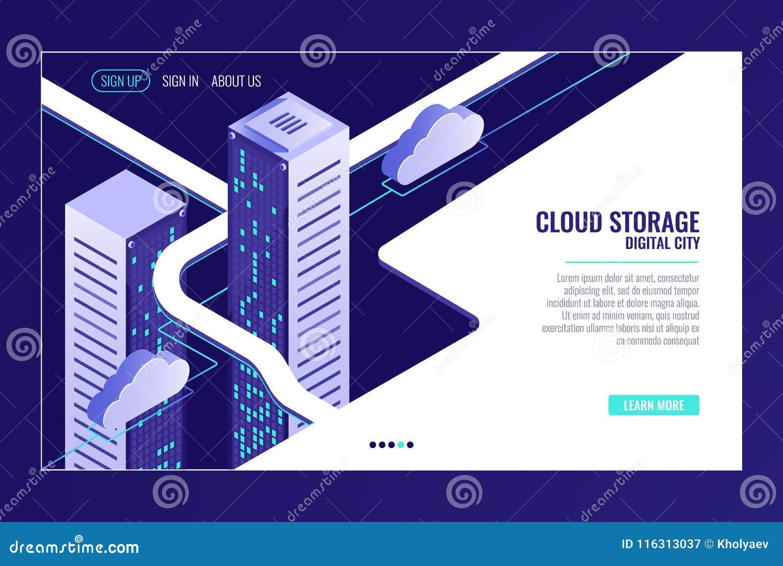 Städtische Datenstadt, Wolkenspeicherkonzept, Serverraumgestell, Rechenzentrum, Datenbank, bigdata isometrischer Vektor