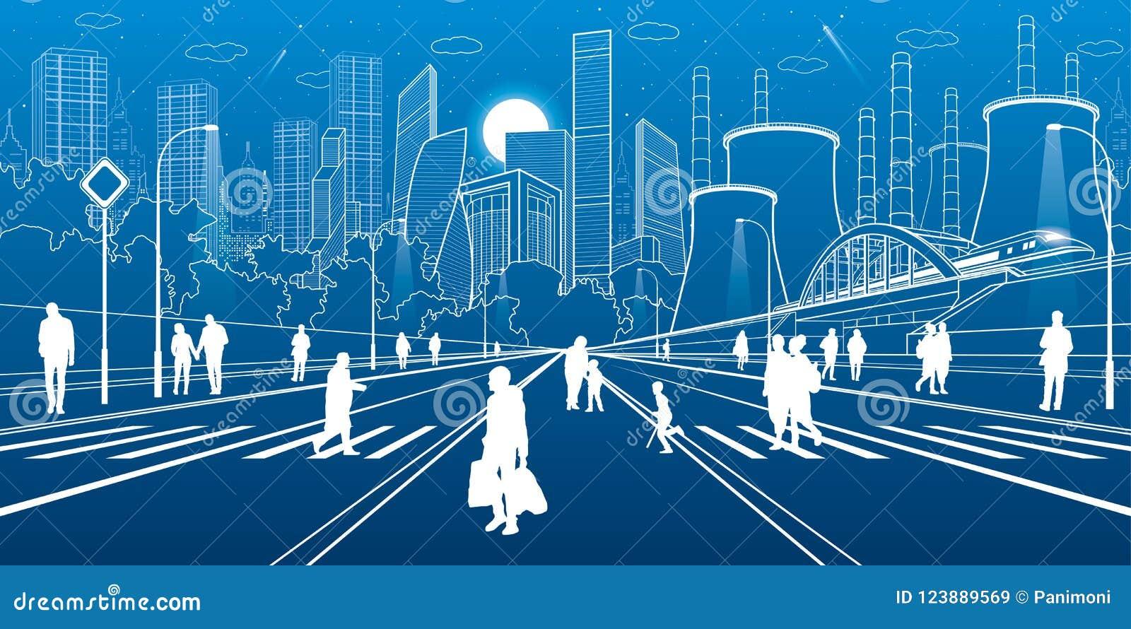 Städtische Stadt-Infrastruktur-Illustration Leute, die an der Straße gehen Moderne Stadt Zugverschiebung auf Brücke Belichtete La