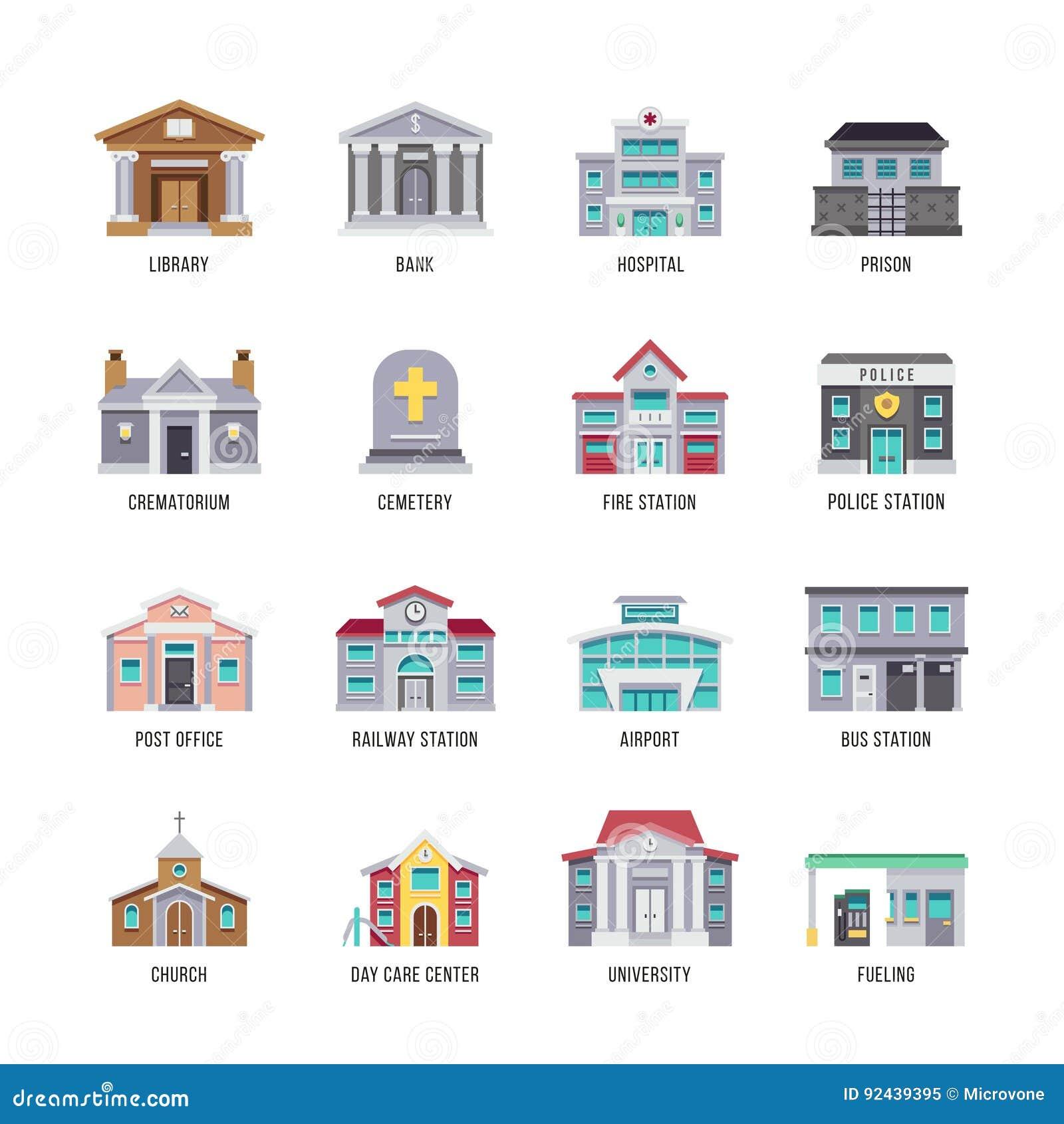 Städtische Stadtgebäude Bibliothek, Bank, Krankenhaus, Gefängnisvektor-Ikonensatz