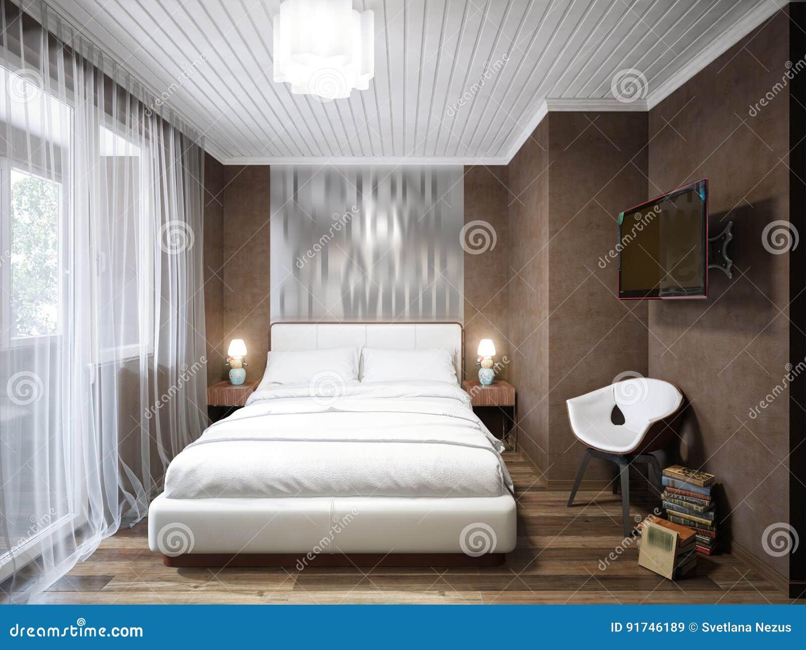 Städtisches Zeitgenössisches Modernes Kleines Schlafzimmer ...