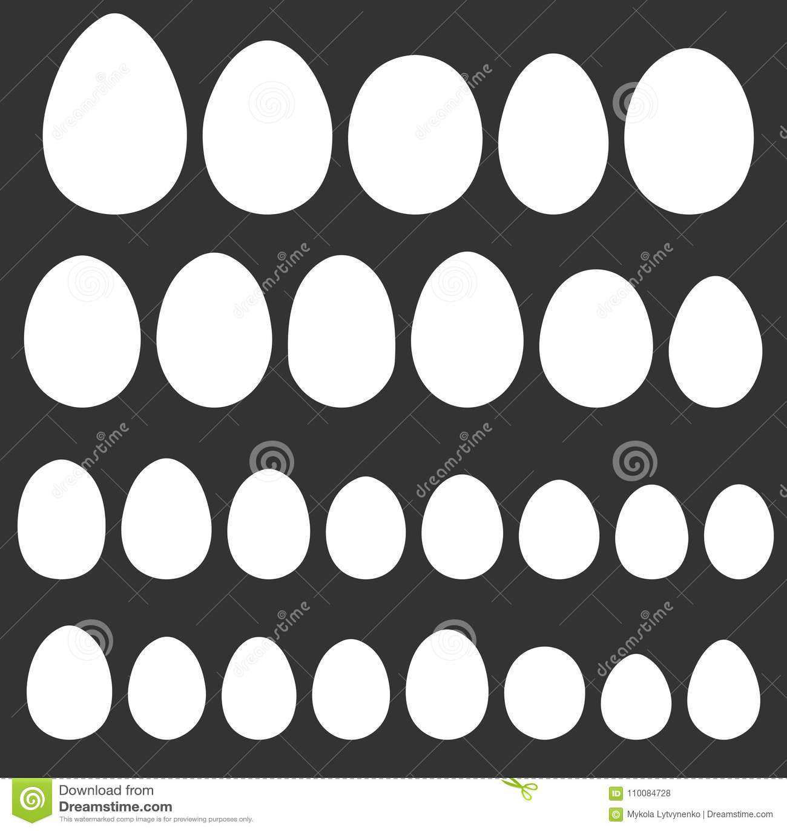 Ställ in äggformmallen för handteckningen för påskferie, olik form för vektor av fågeläggreptilar, för påskdesign