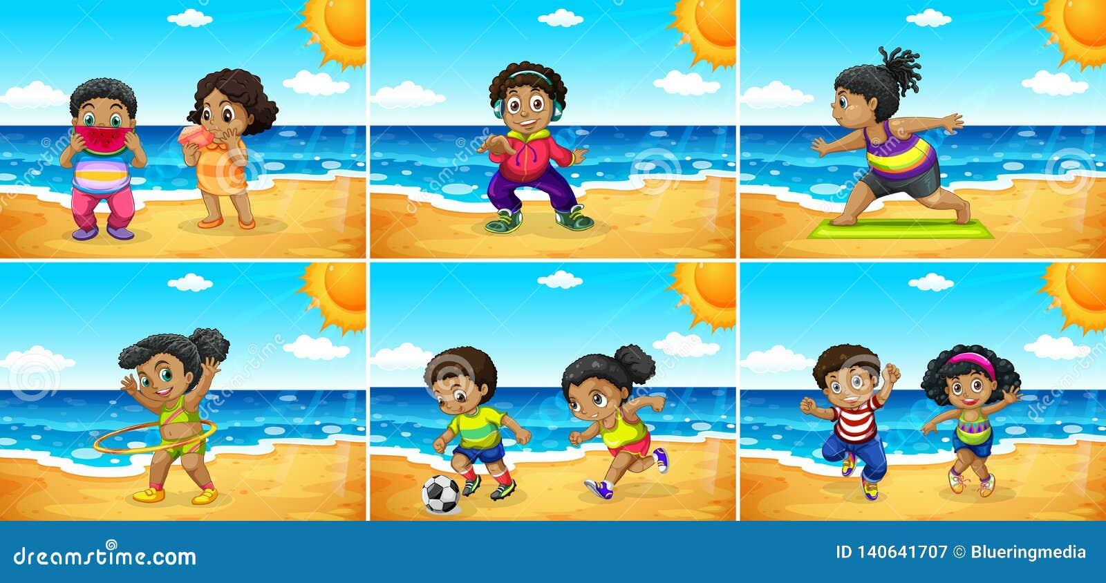 Ställ in av afrikanska ungar på stranden